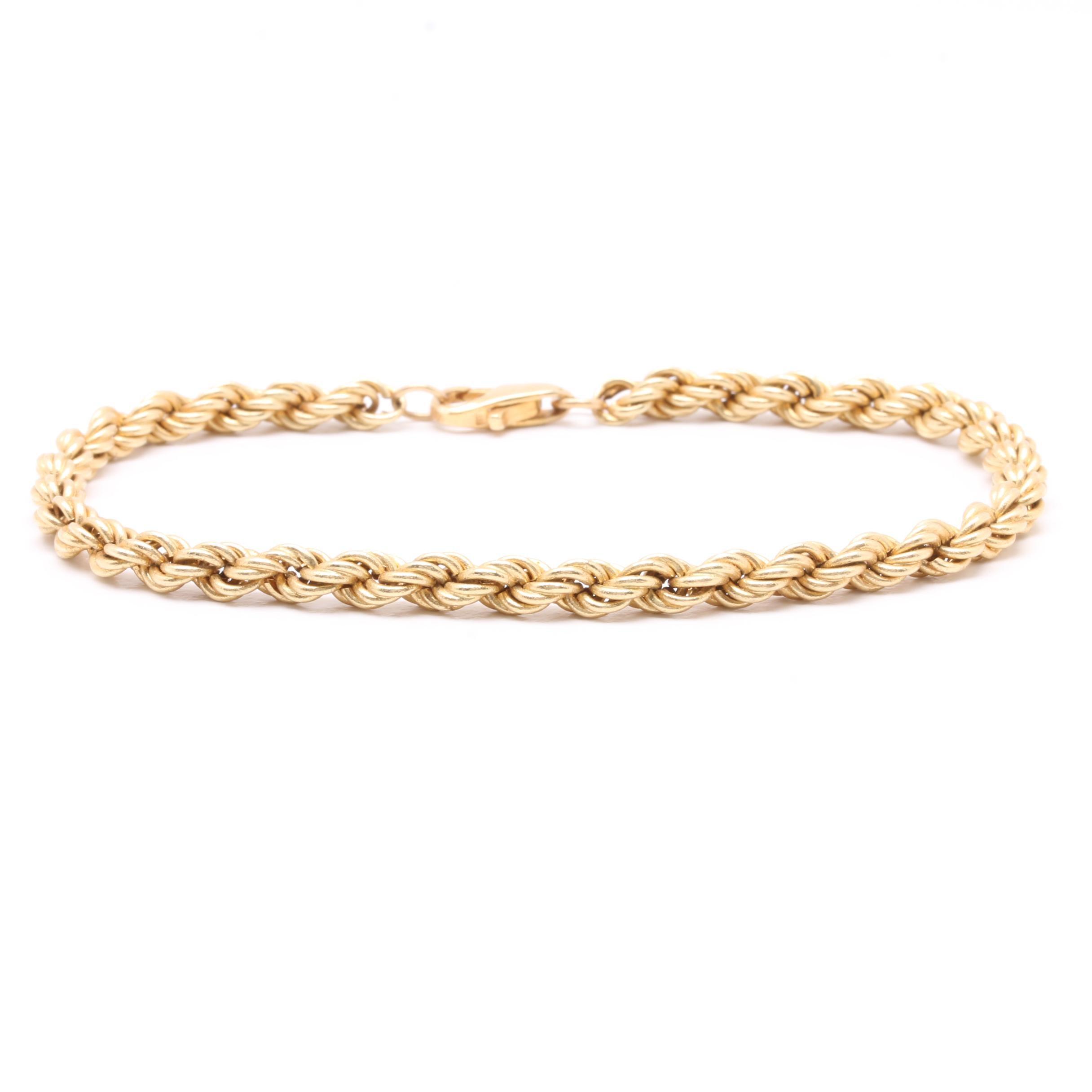 14K Yellow Gold Rope Chain Bracelet