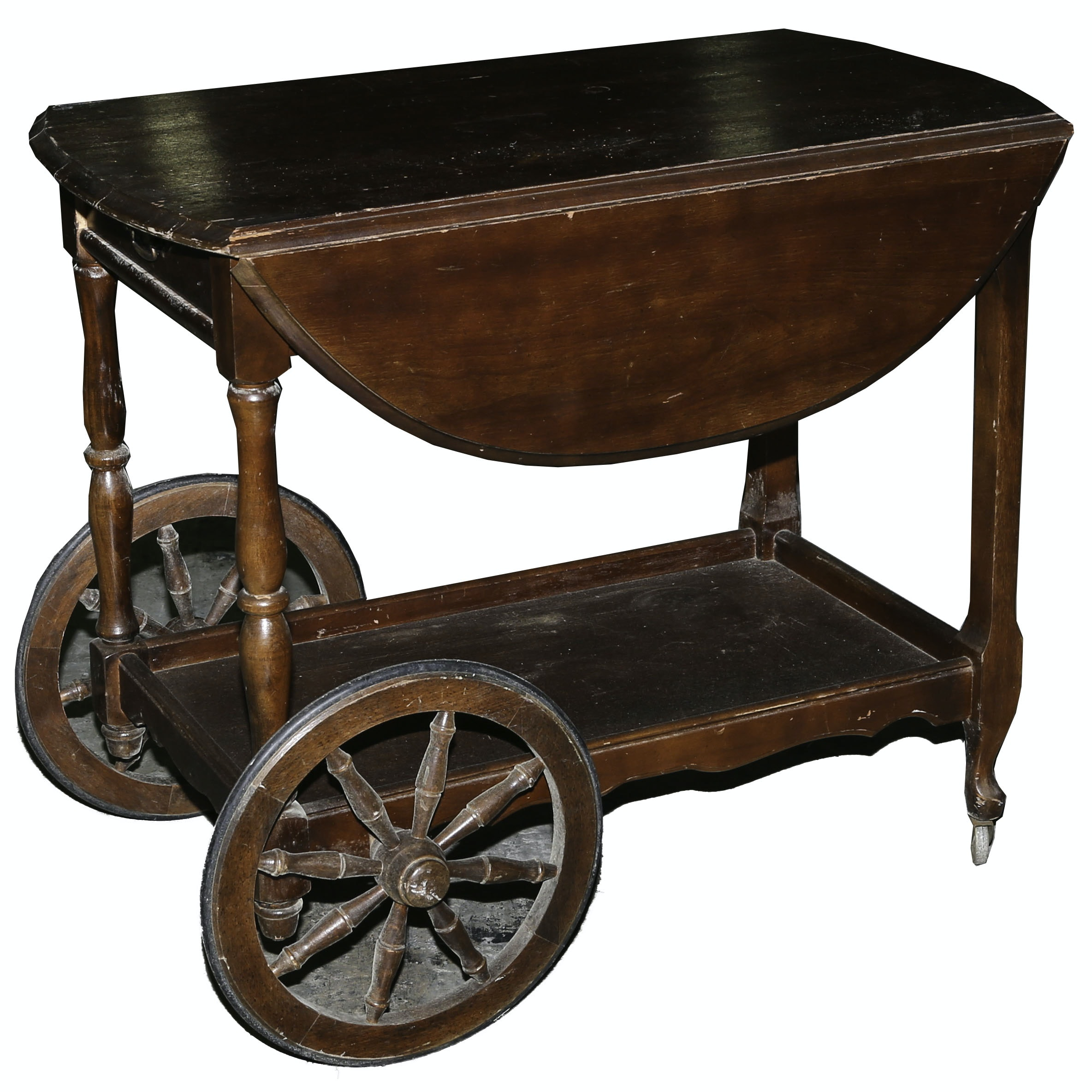 Vintage Drop-Leaf Tea Cart
