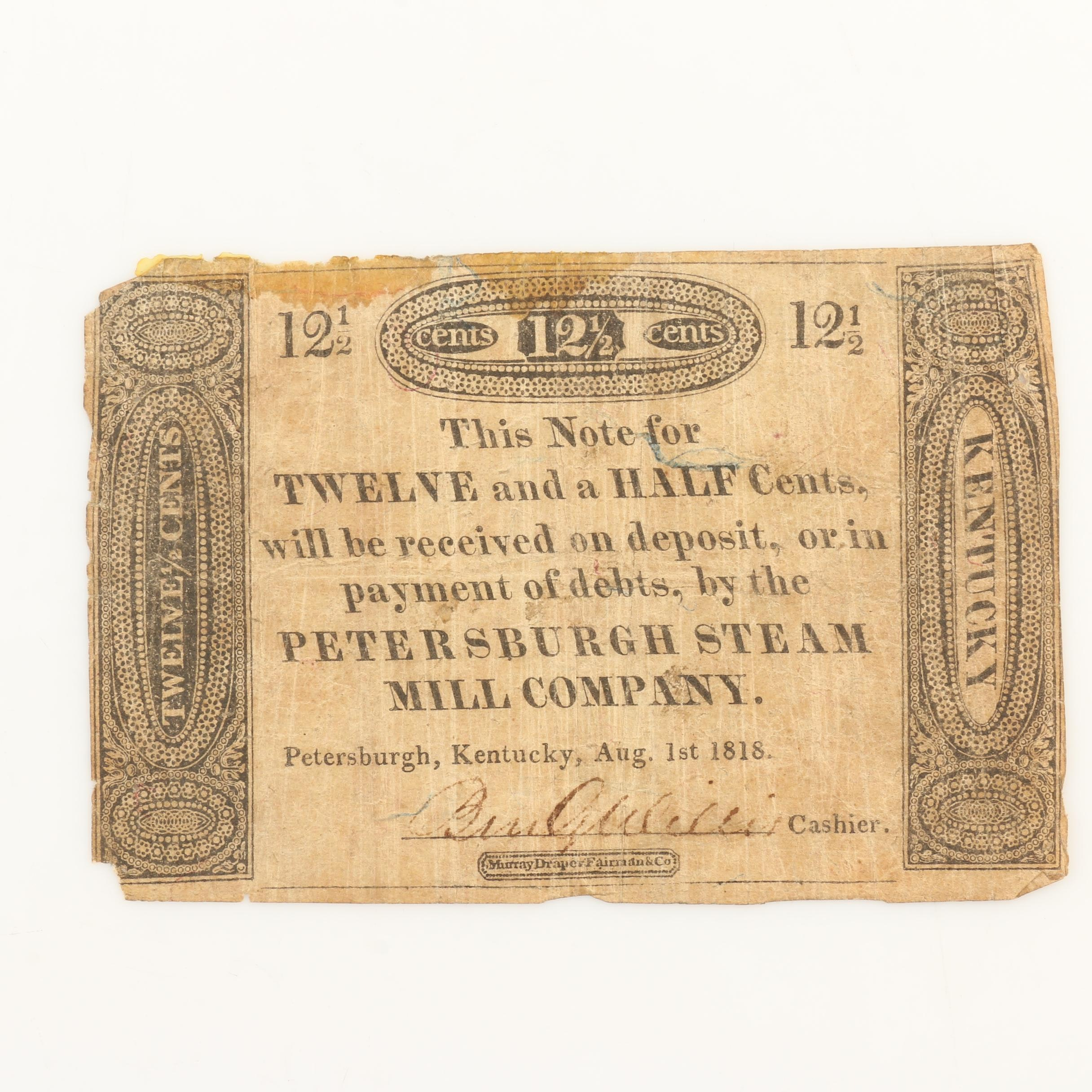 Privately Issued Obsolete Fractional Bank Note from 1818