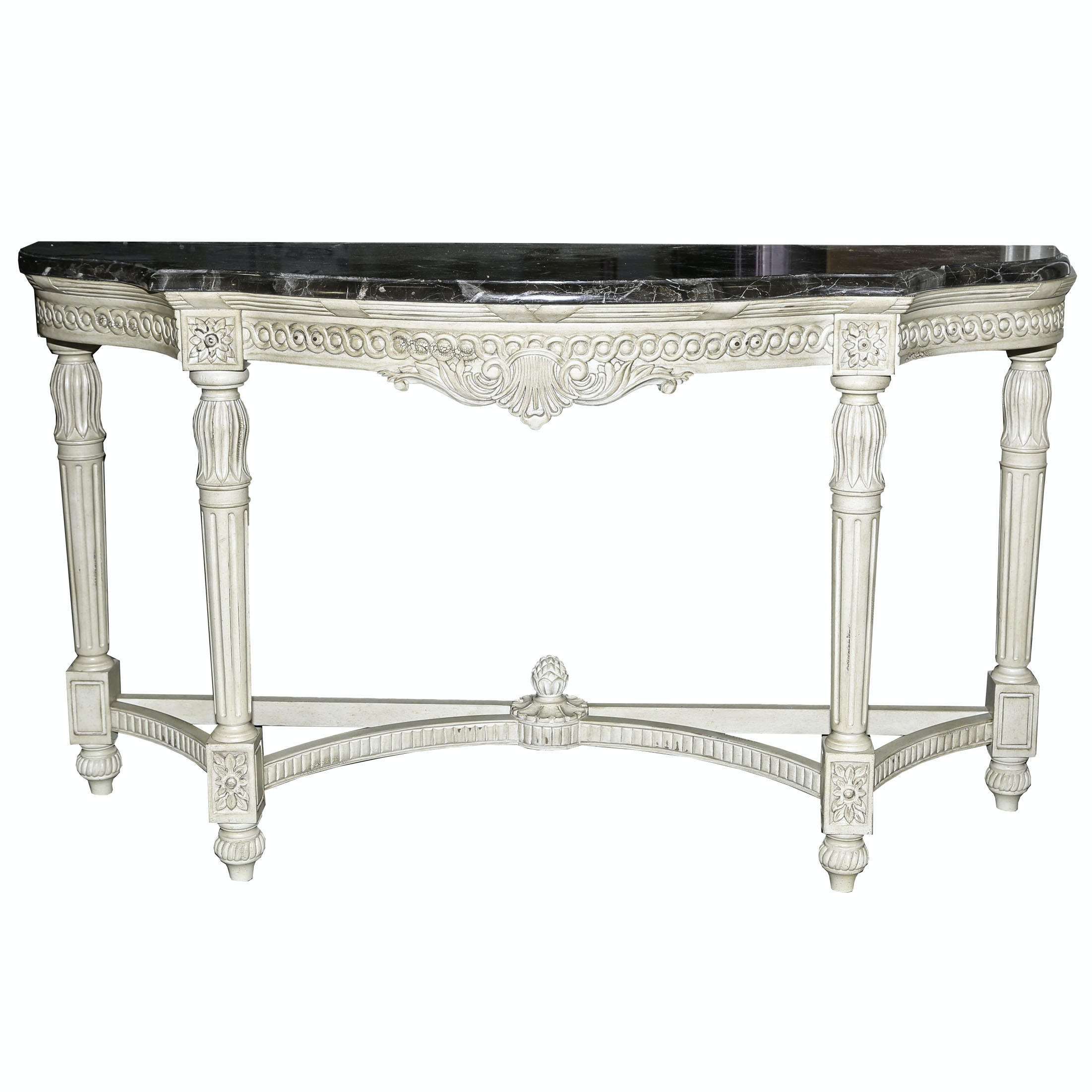 Neoclassical Inspired Marble Top Console Table