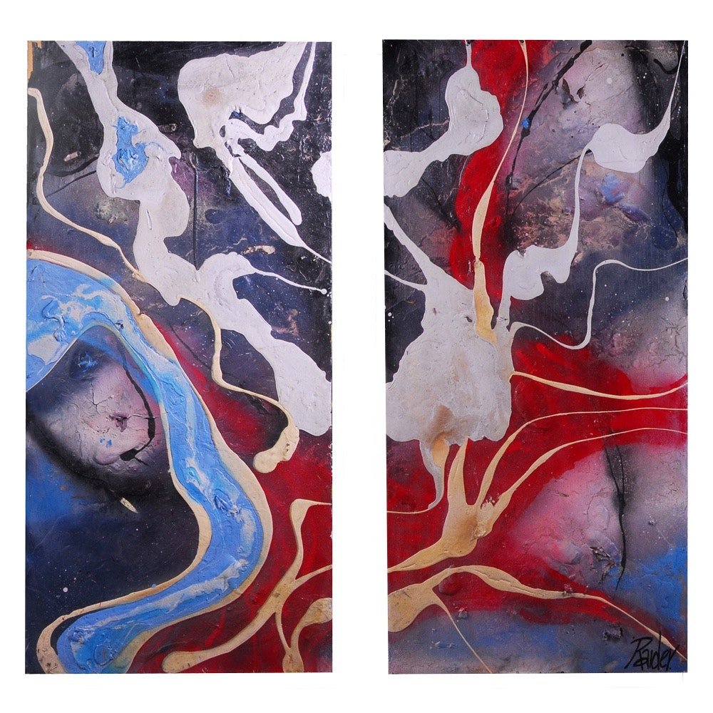 "Jonas Raider Abstract Acrylic Diptych Painting ""Red / White / Black / Blue"""