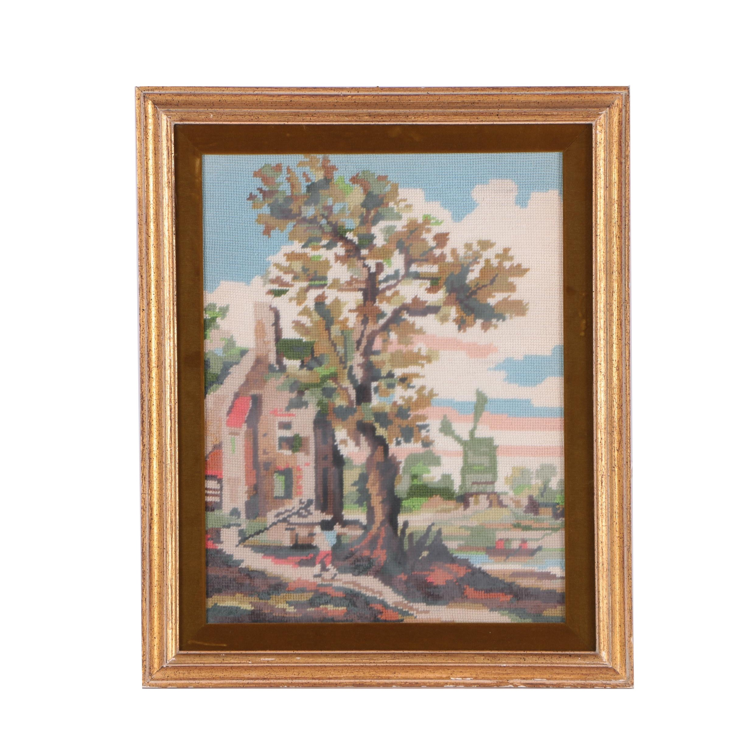 Needlepoint Embroidery of Rural Landscape