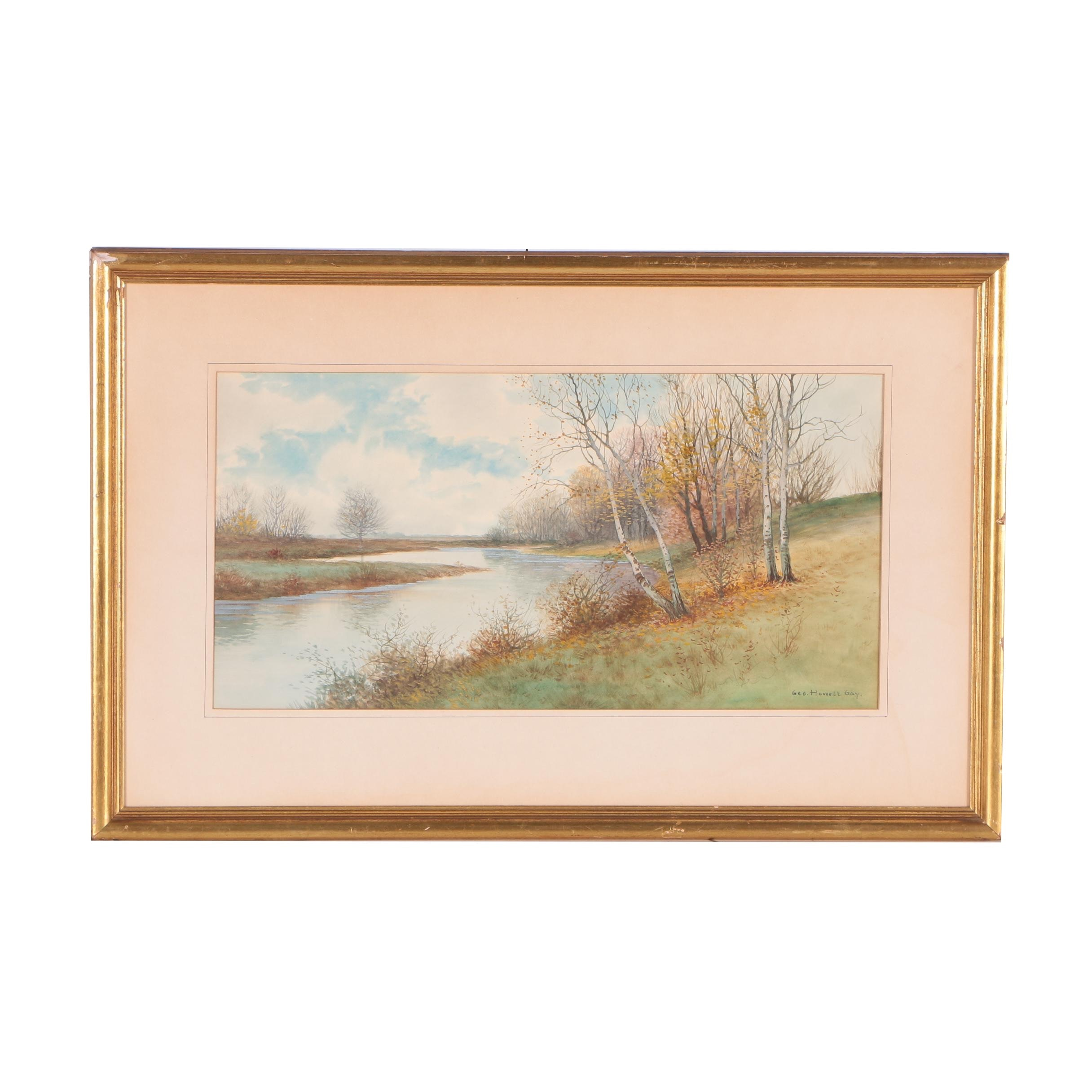 George Howell Gay Watercolor Painting of an Autumnal Landscape
