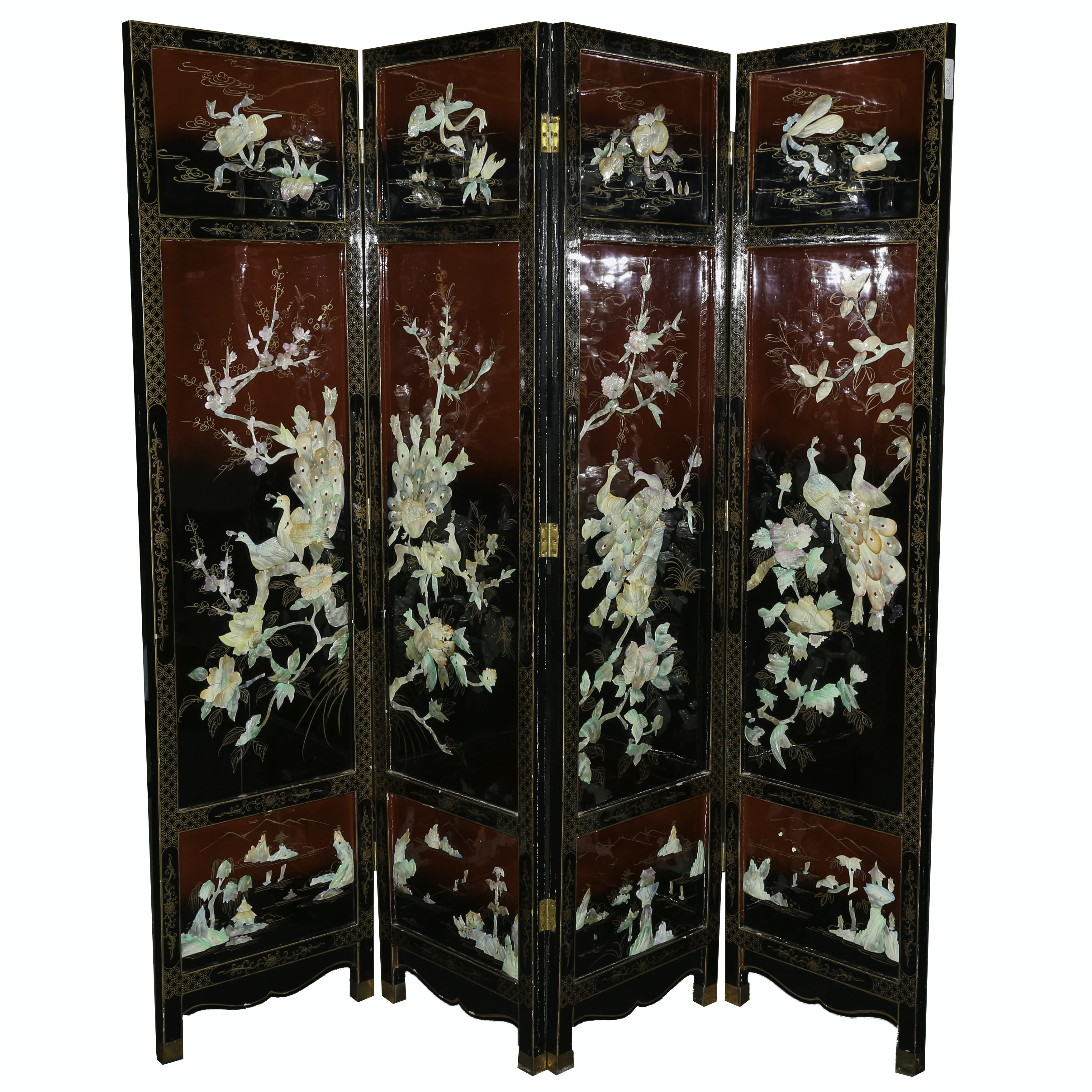 Chinese Lacquered and Inlay Folding Screen