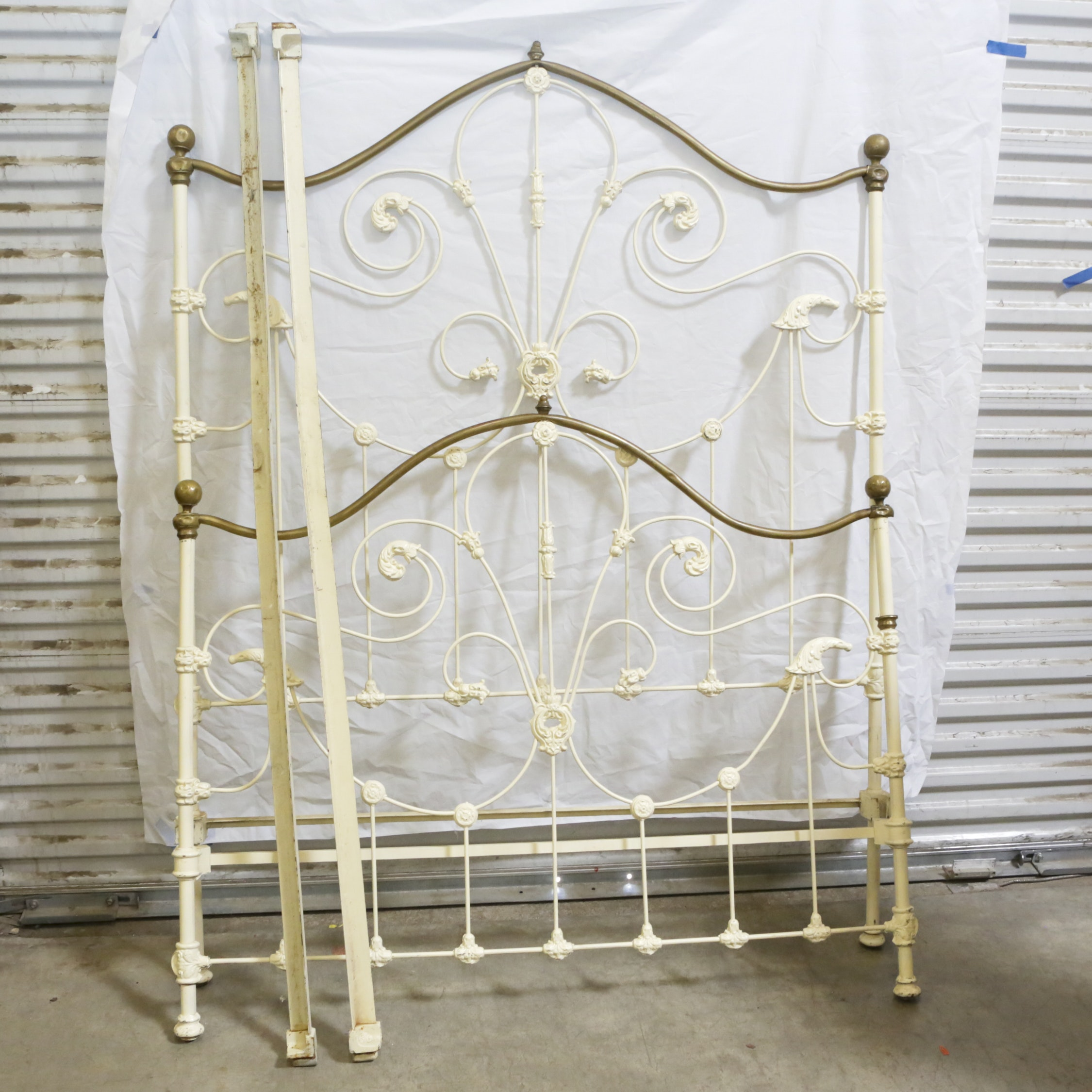 Antique Victorian Painted Cast Iron Full Size Bed Frame