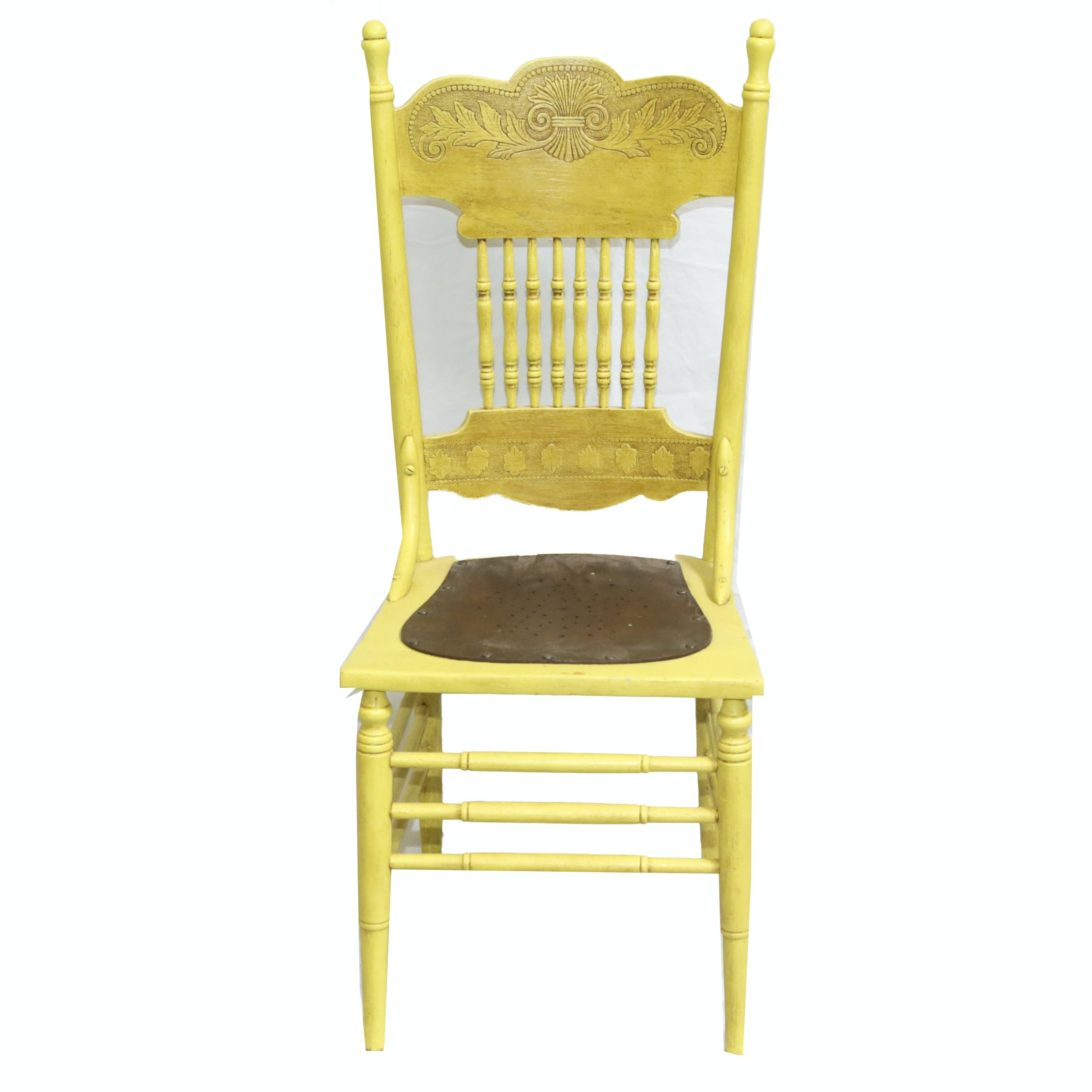 Vintage Yellow Painted Press Back Chair