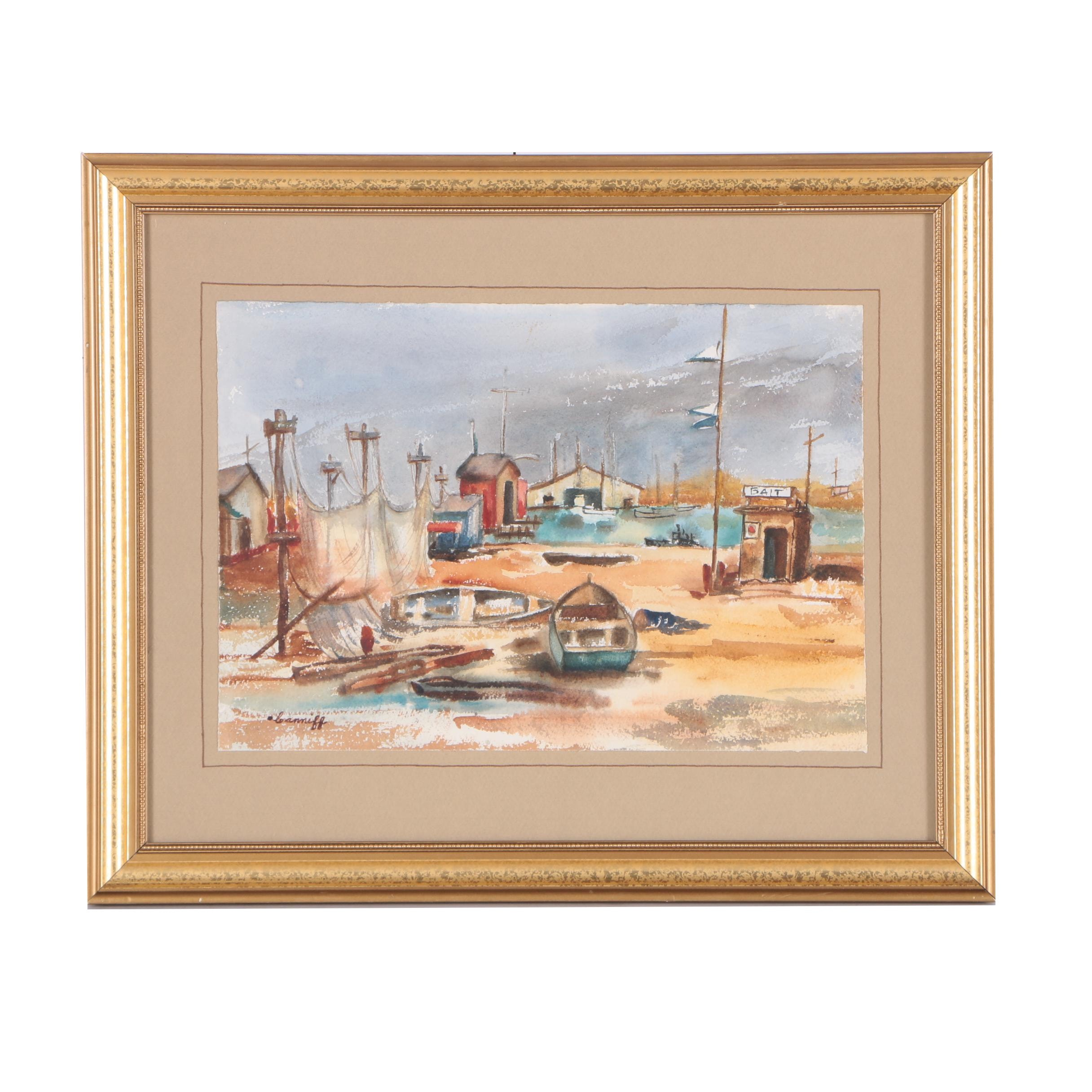 Dorothy McCoy Canniff Watercolor Painting of a Harbor