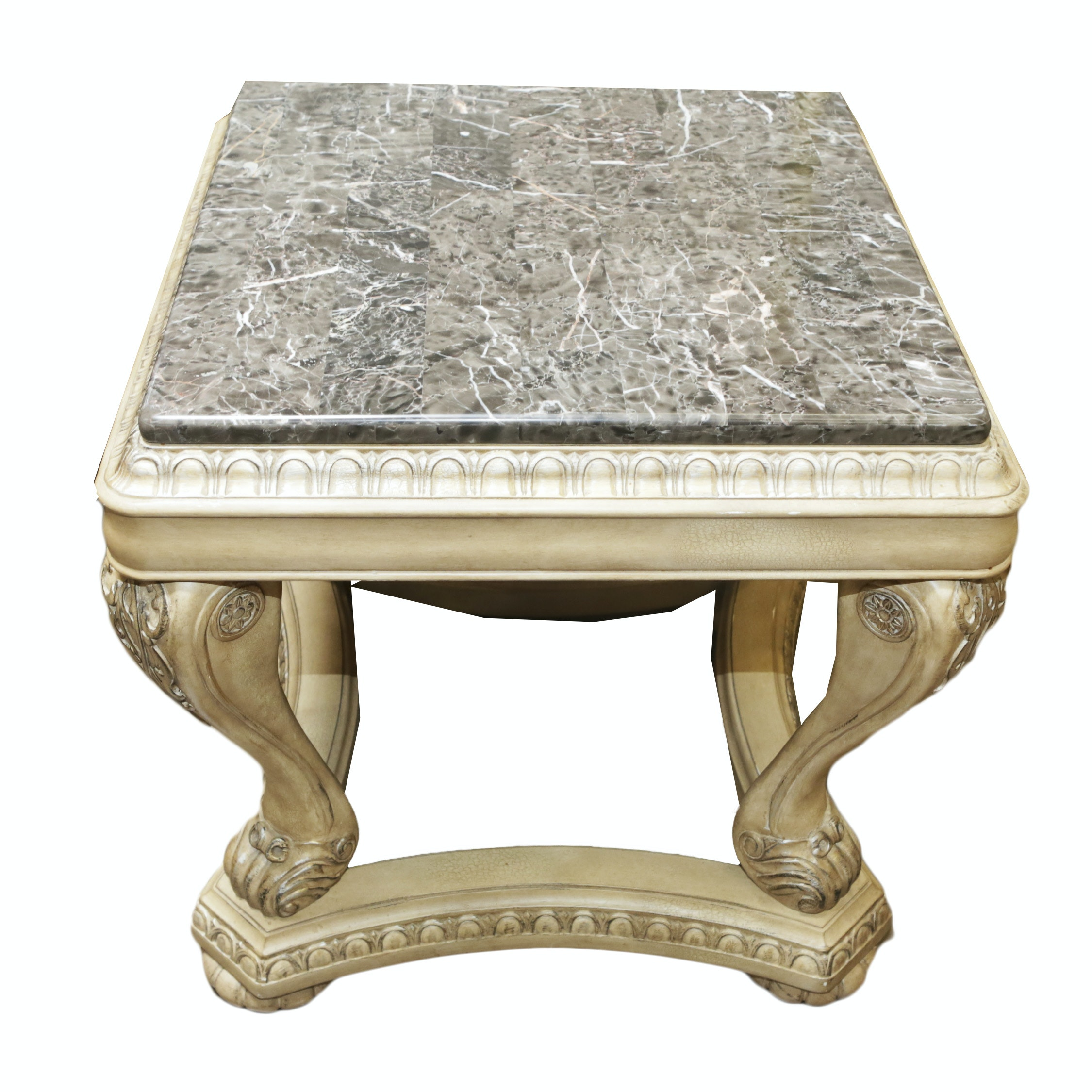 Neoclassical Style Stone Top Side Table