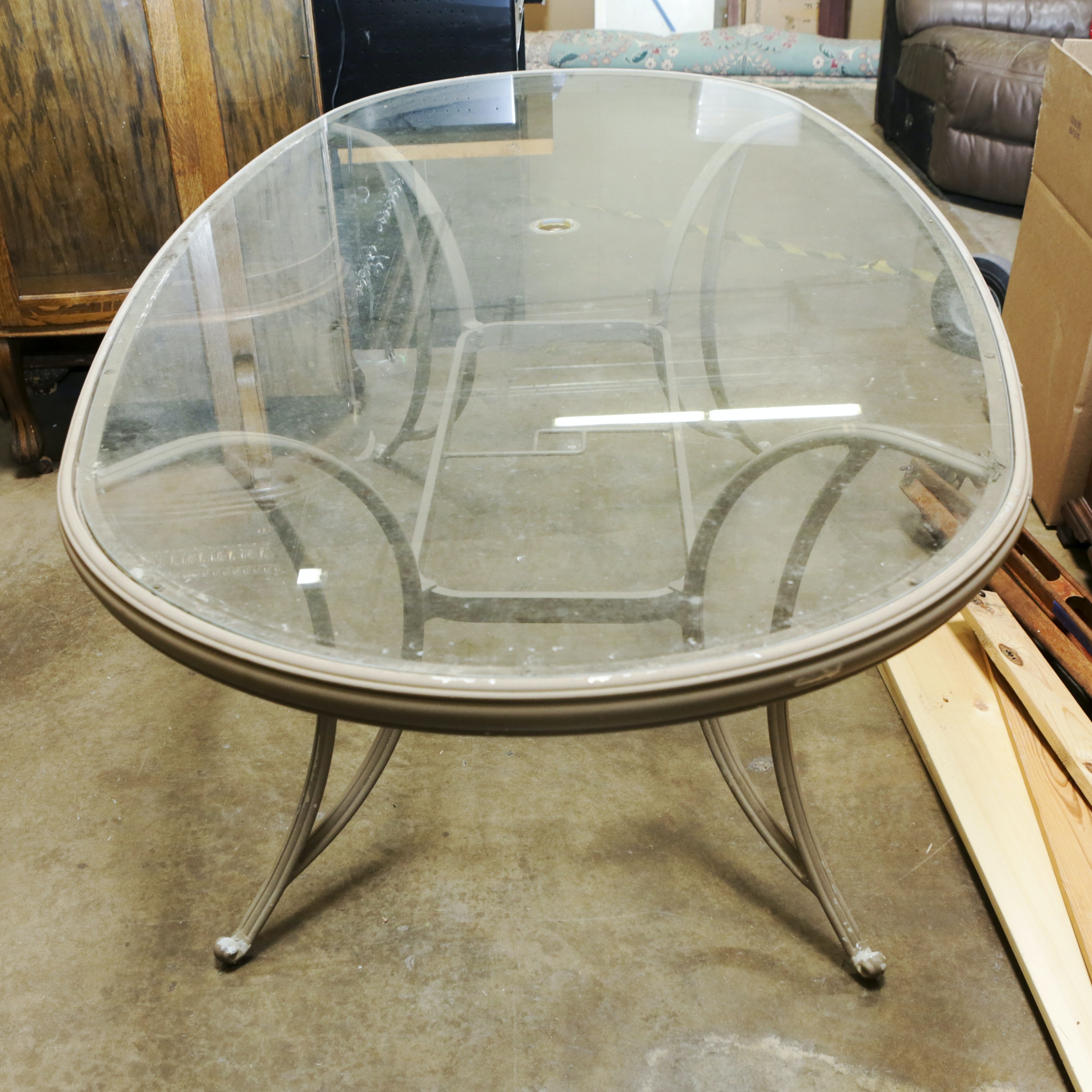 Contemporary Metal Patio Table with Glass Top