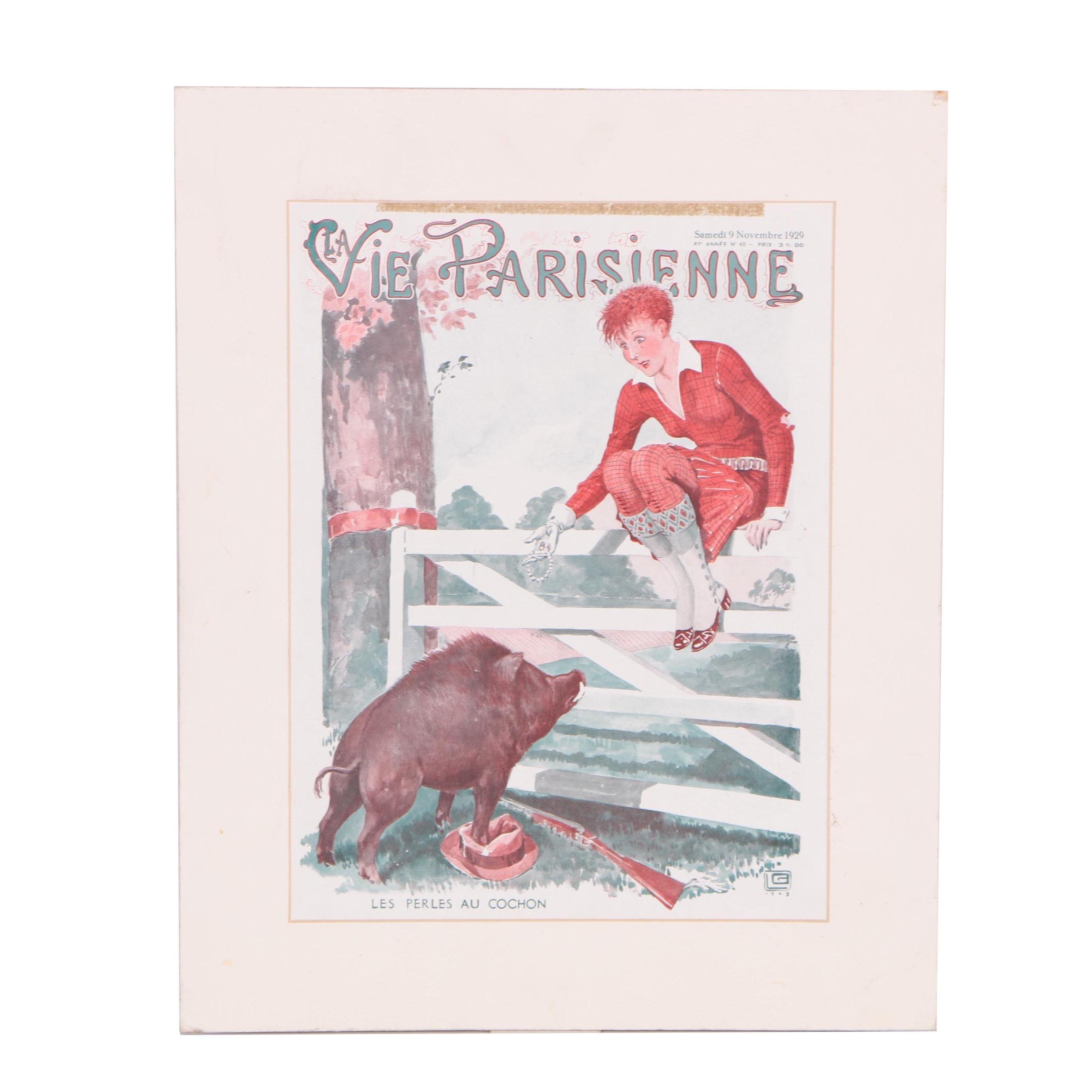 """Offset Lithograph After 1929 """"La Vie Parisienne: Les Perles au Cochon"""""""