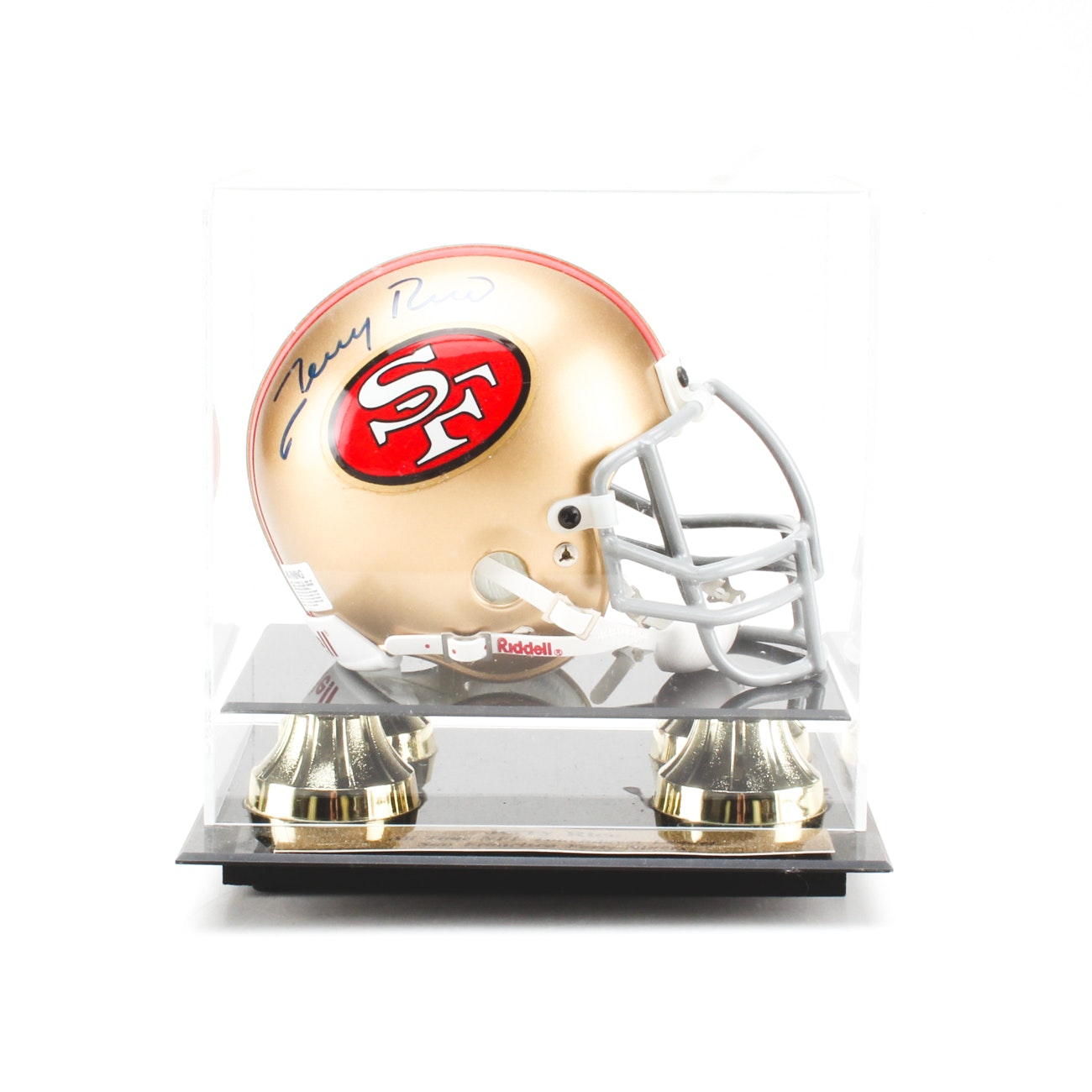 Jerry Rice Signed Mini Helmet with Case