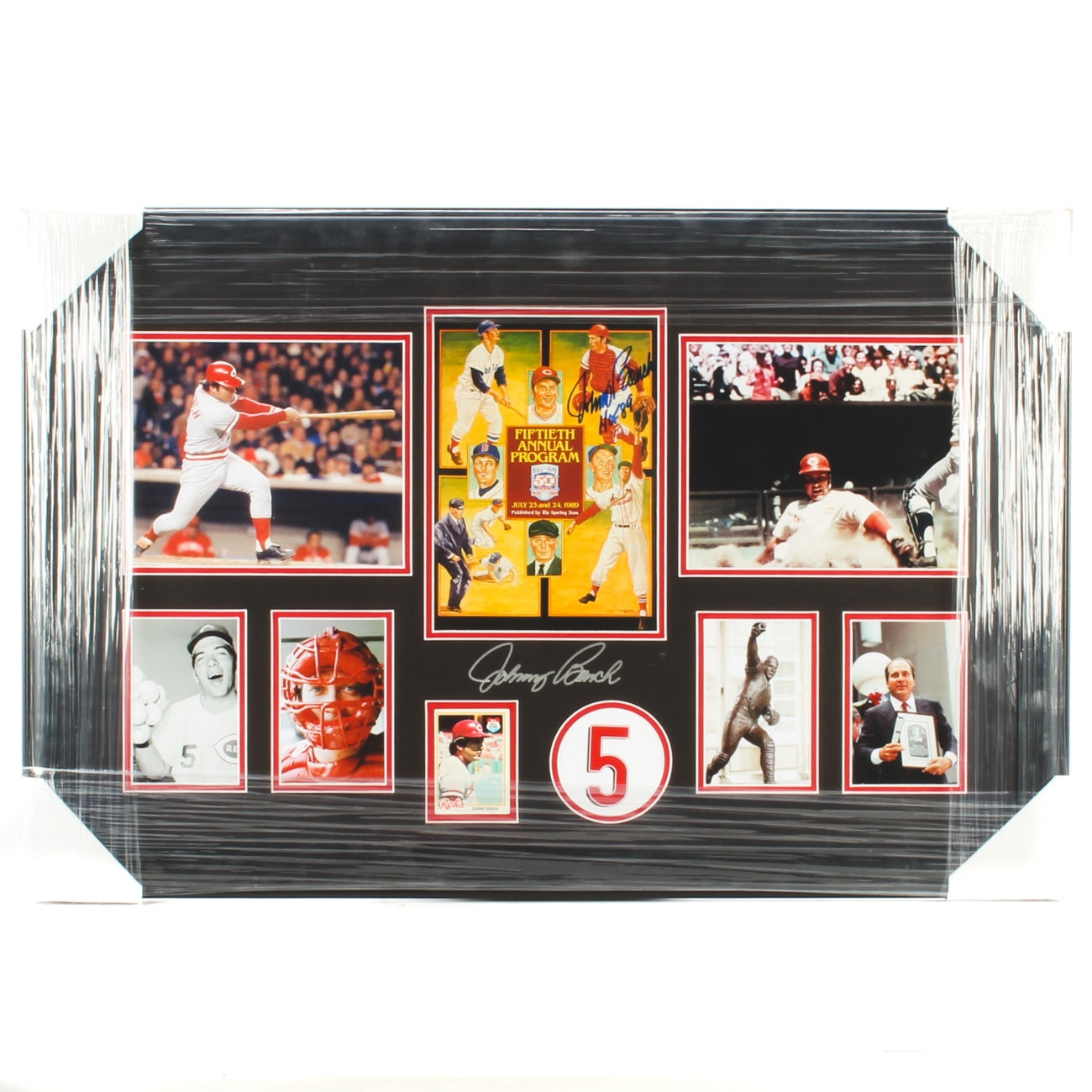 Johnny Bench Double Signed Matted and Framed Large Display COA