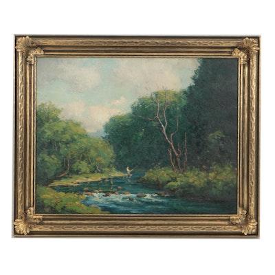 Varaldo Cariani Oil on Canvas Creek Landscape