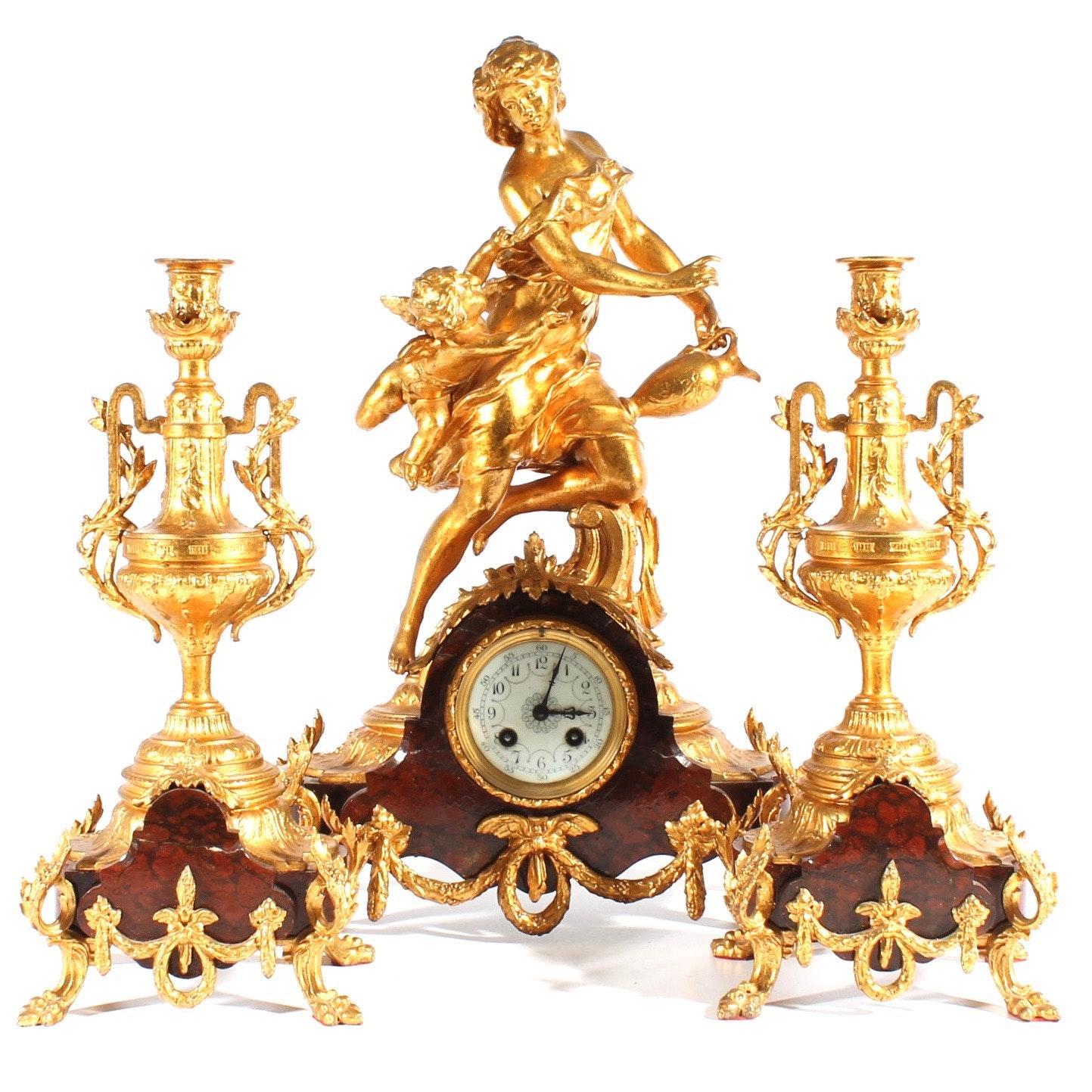 Antique 19th Century Marti Et Cie Mantle Clock and Garniture