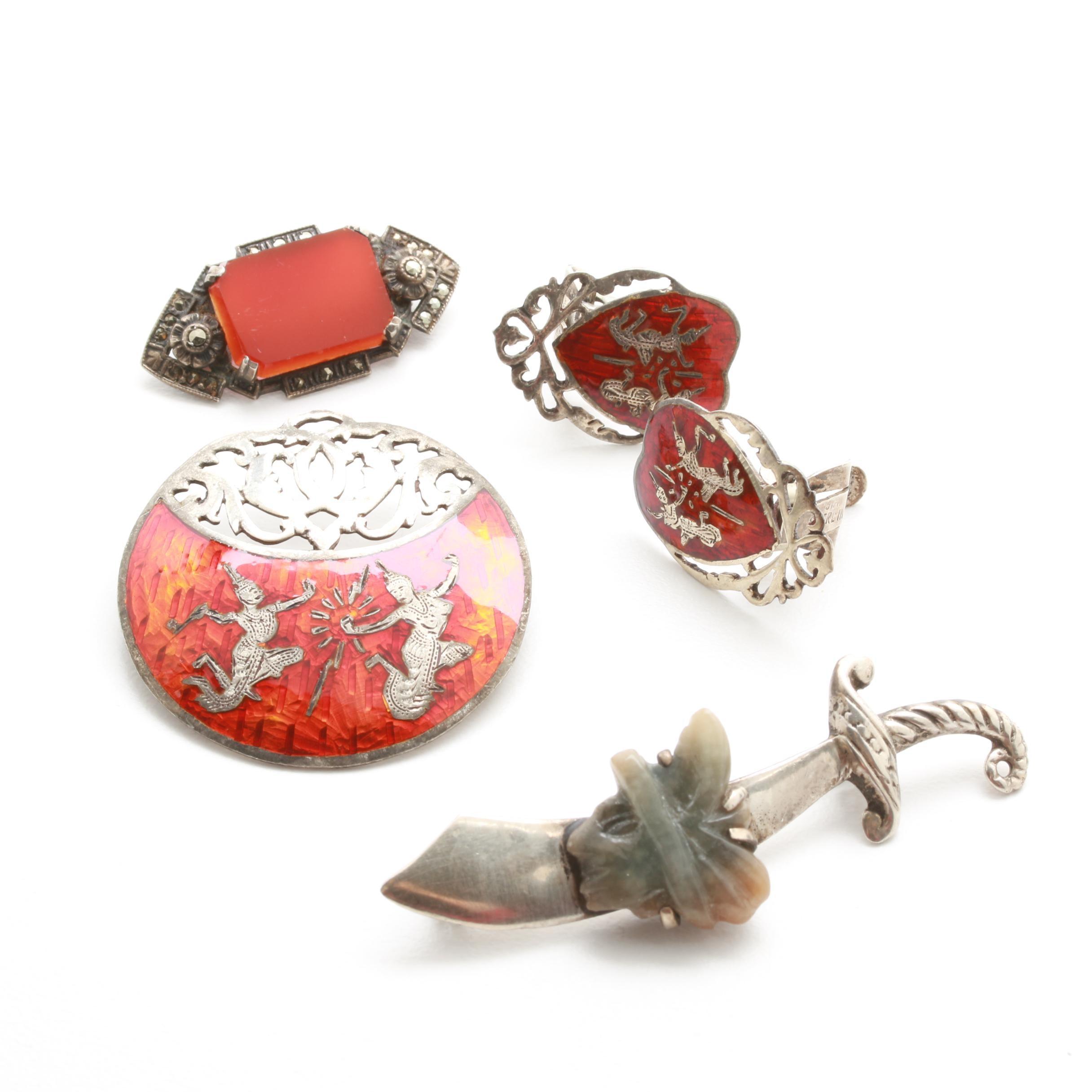 Sterling Silver Gemstone Jewelry Including Niello Enamel