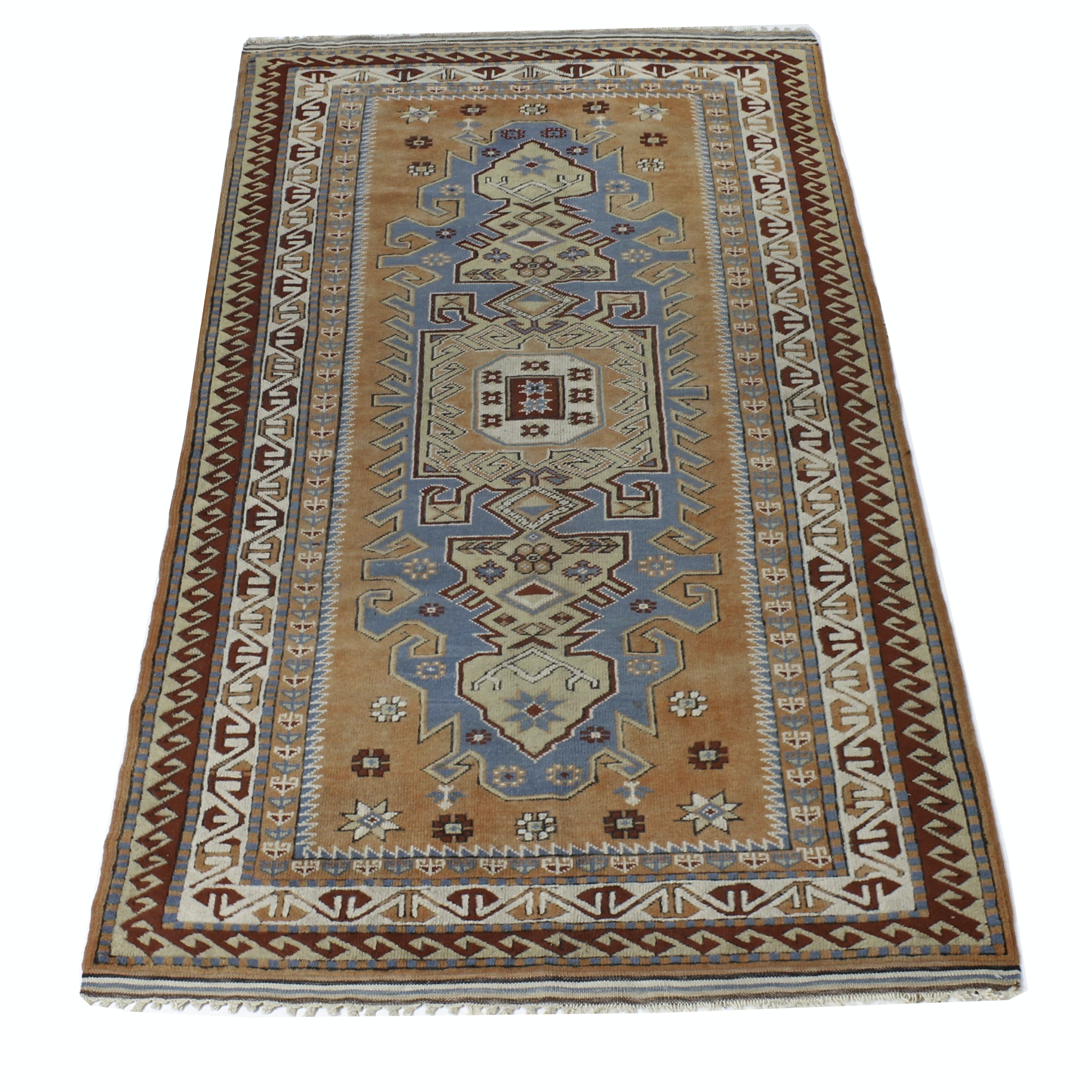 Semi-Antique Hand-Knotted Turkish Caucasian Kazak Area Rug