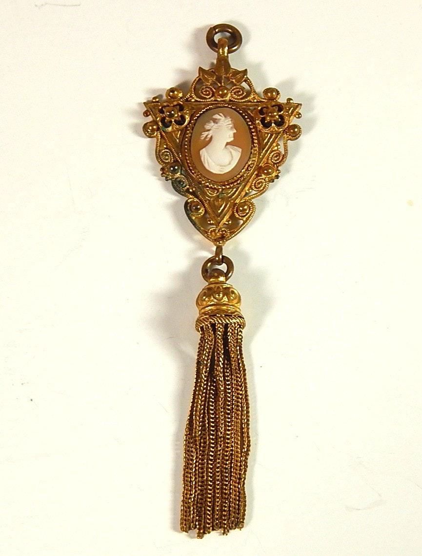 Victorian Revival Cameo Tassel French Pendant