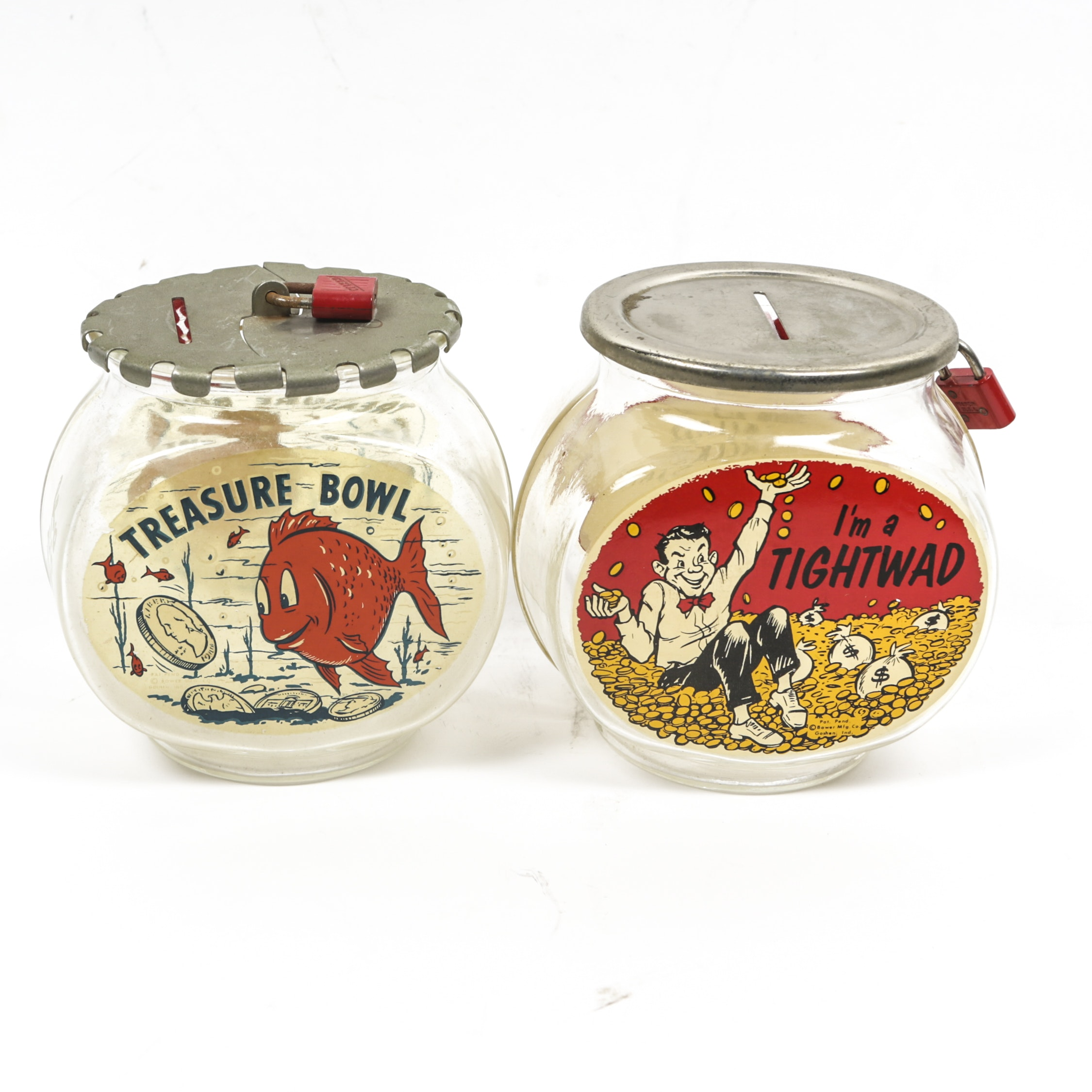 "Vintage ""Treasure Bowl"" and ""I'm a Tightwad"" Glass Fishbowl Coin Banks"