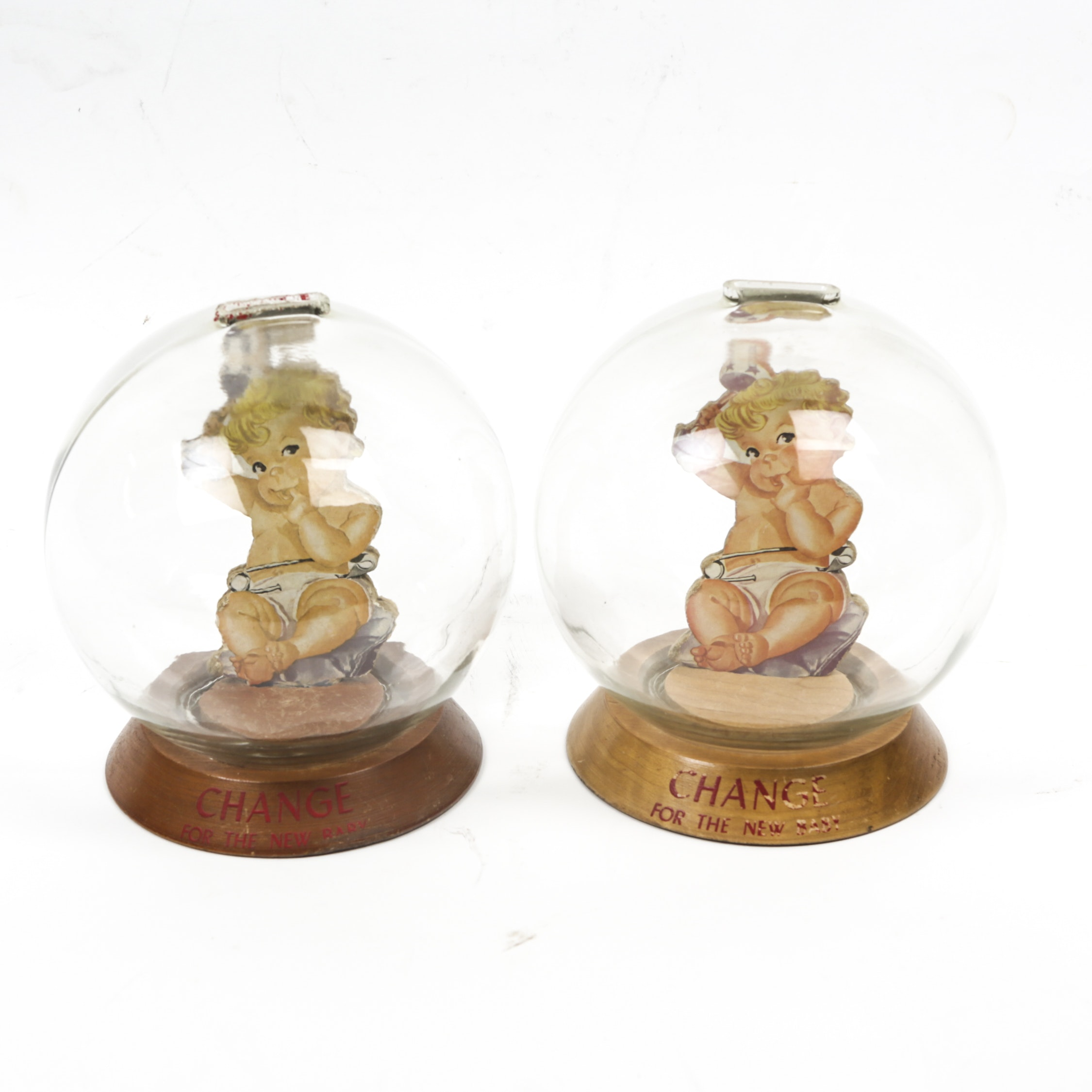 "Vintage ""Change For The New Baby"" Glass Bubble Banks"