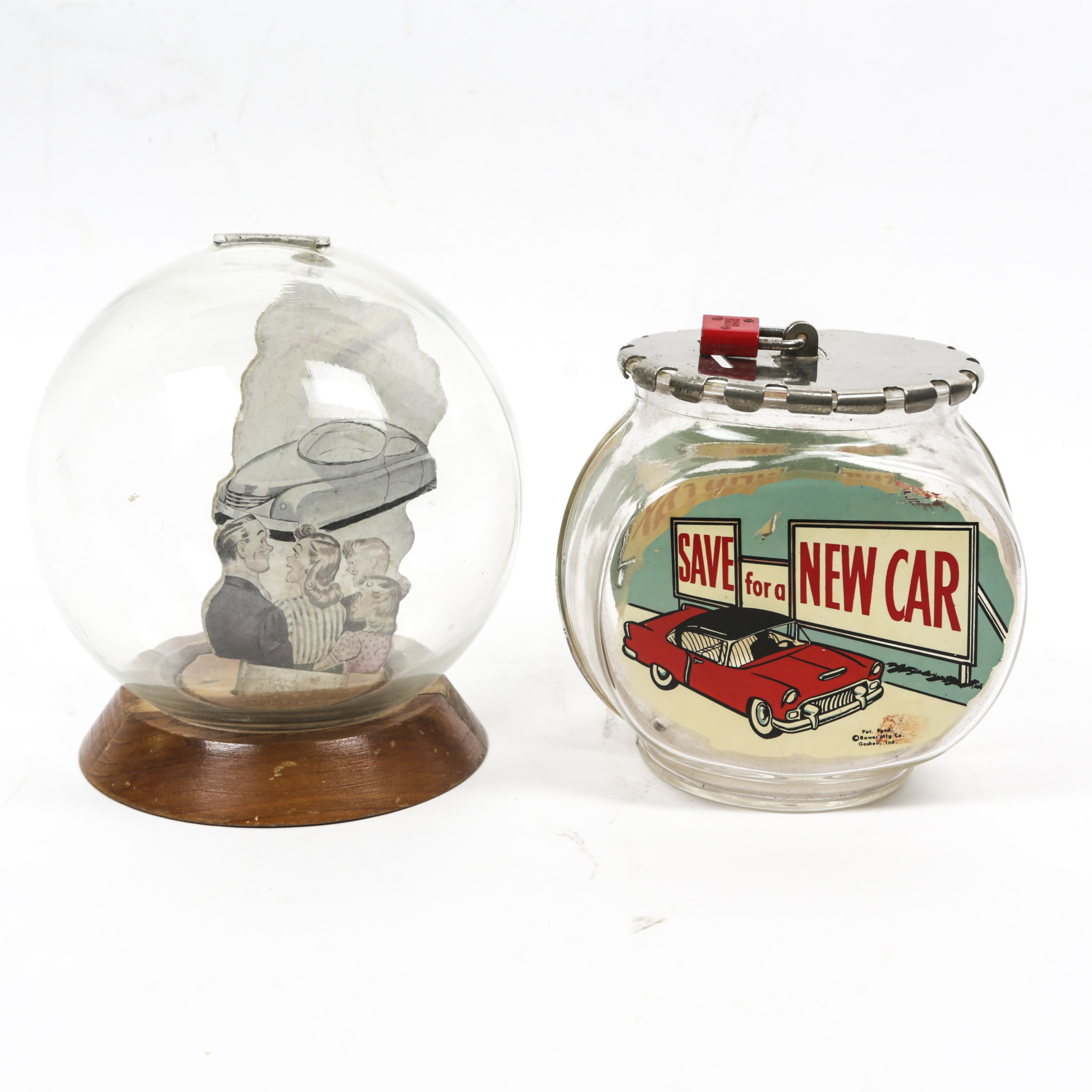Vintage New Car Glass Bubble Banks