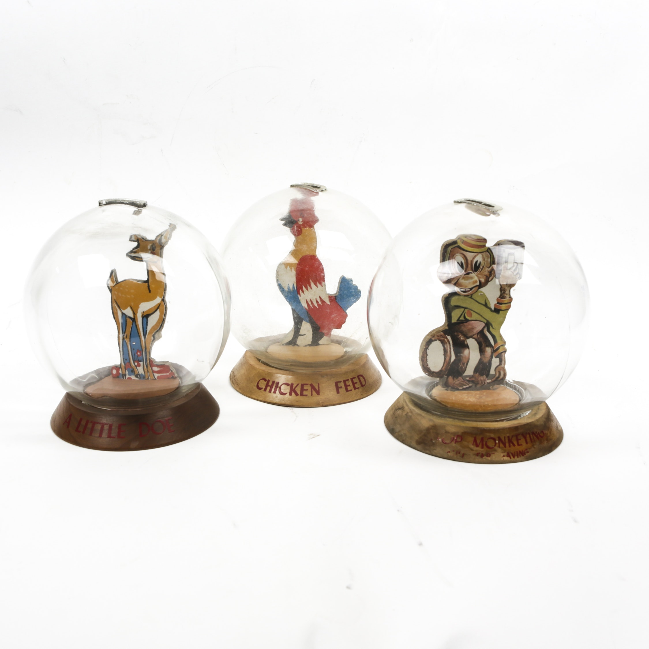 Vintage Monkey, Chicken and Doe Glass Bubble Banks