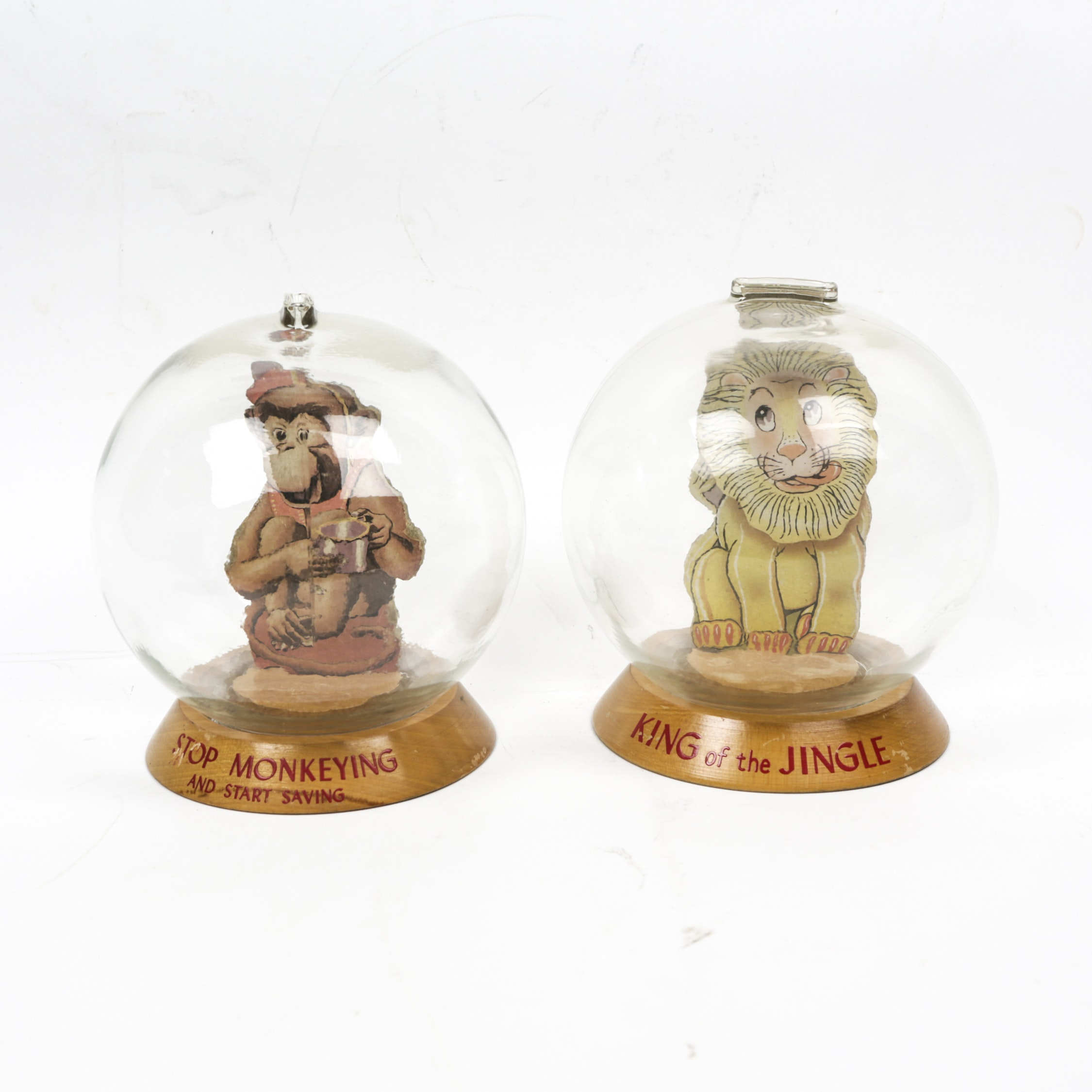 Vintage Monkey and Lion Glass Bubble Banks