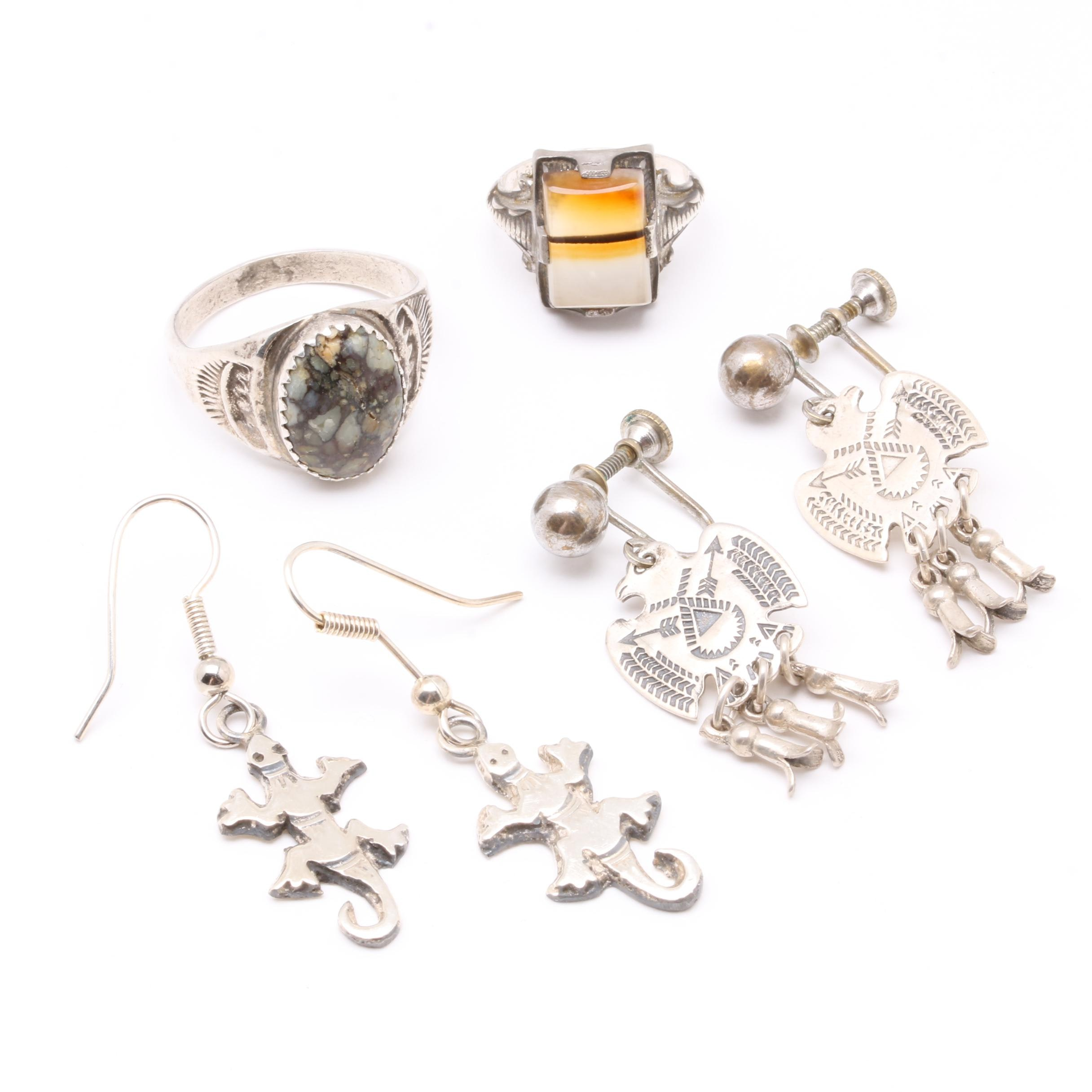 Southwest Style Sterling Silver Jewelry Selection Including Agate