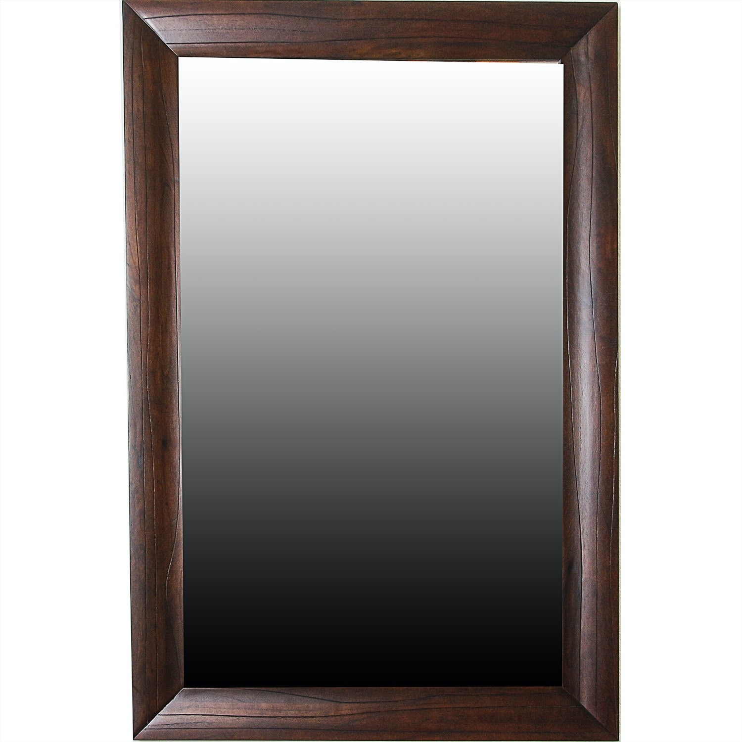 Contemporary Wall Mount Rectangular Mirror with Mahogany Stained Frame