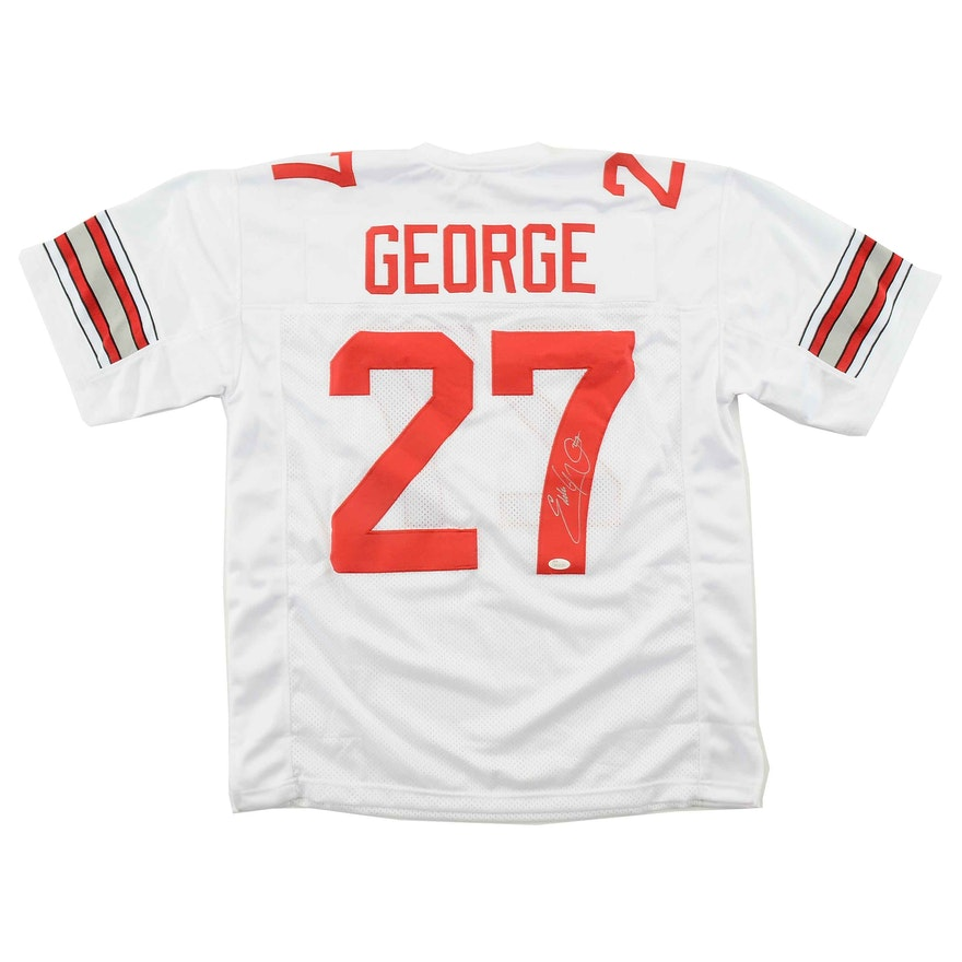 online retailer 4bfd8 5e79a Eddie George Signed White Ohio State Jersey COA