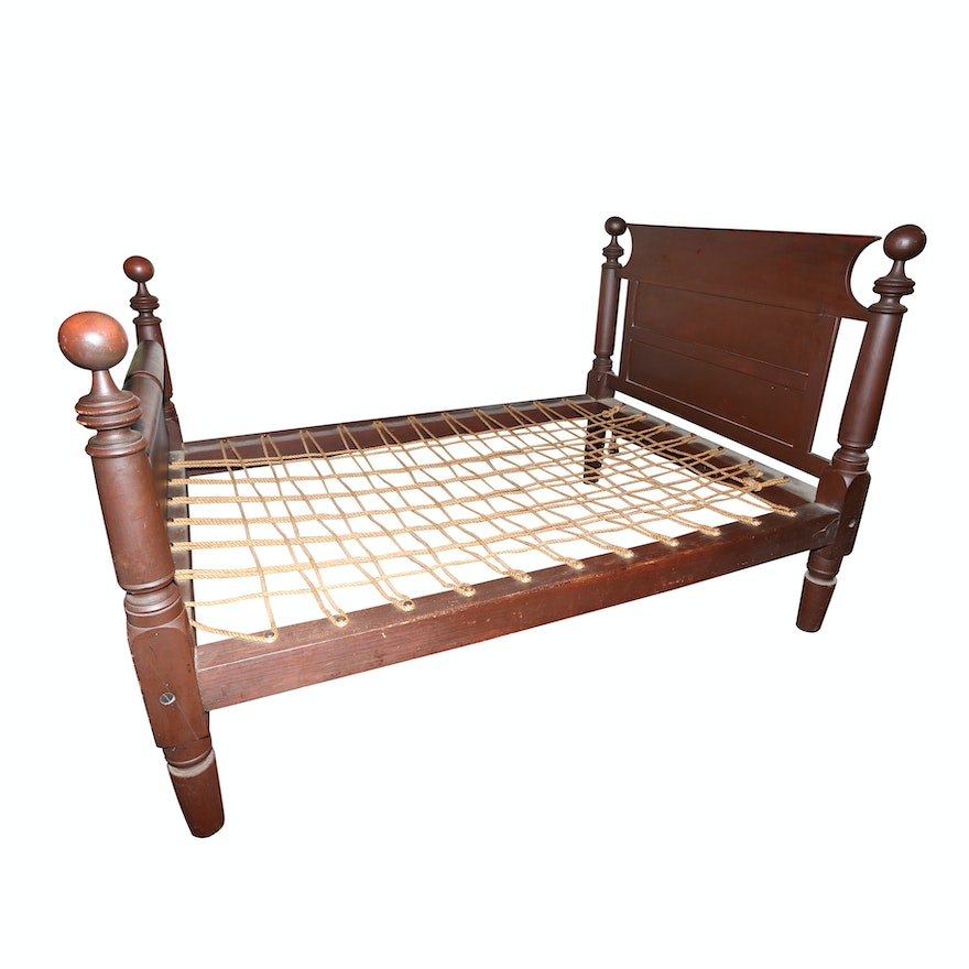 Antique Full-Sized Cannonball Bed Frame : EBTH
