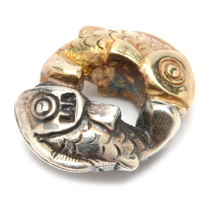 """Trollbead Sterling Silver and 18K Yellow Gold """"Happy Fish"""" Bead"""
