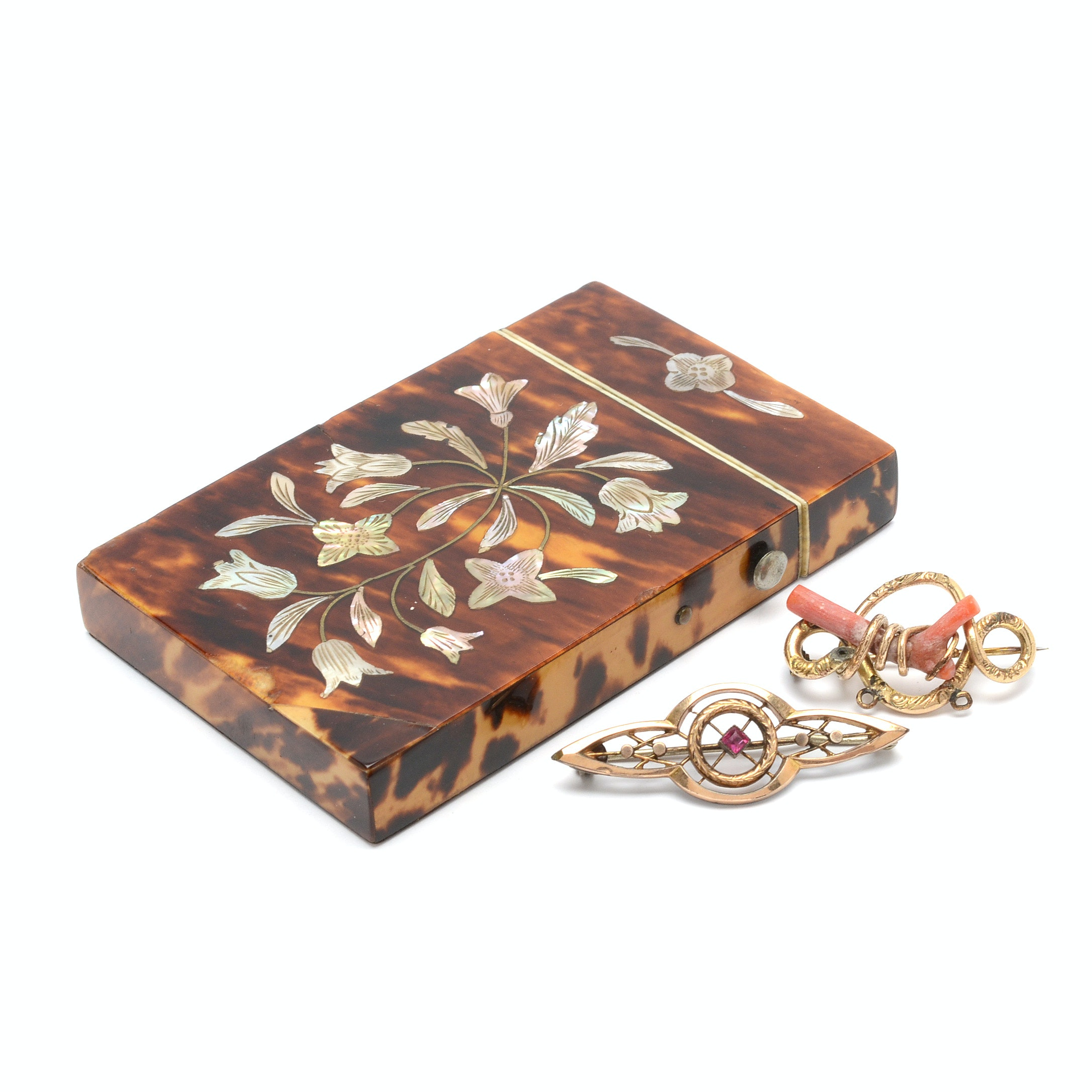 Vintage Brooches and Calling Card Holder
