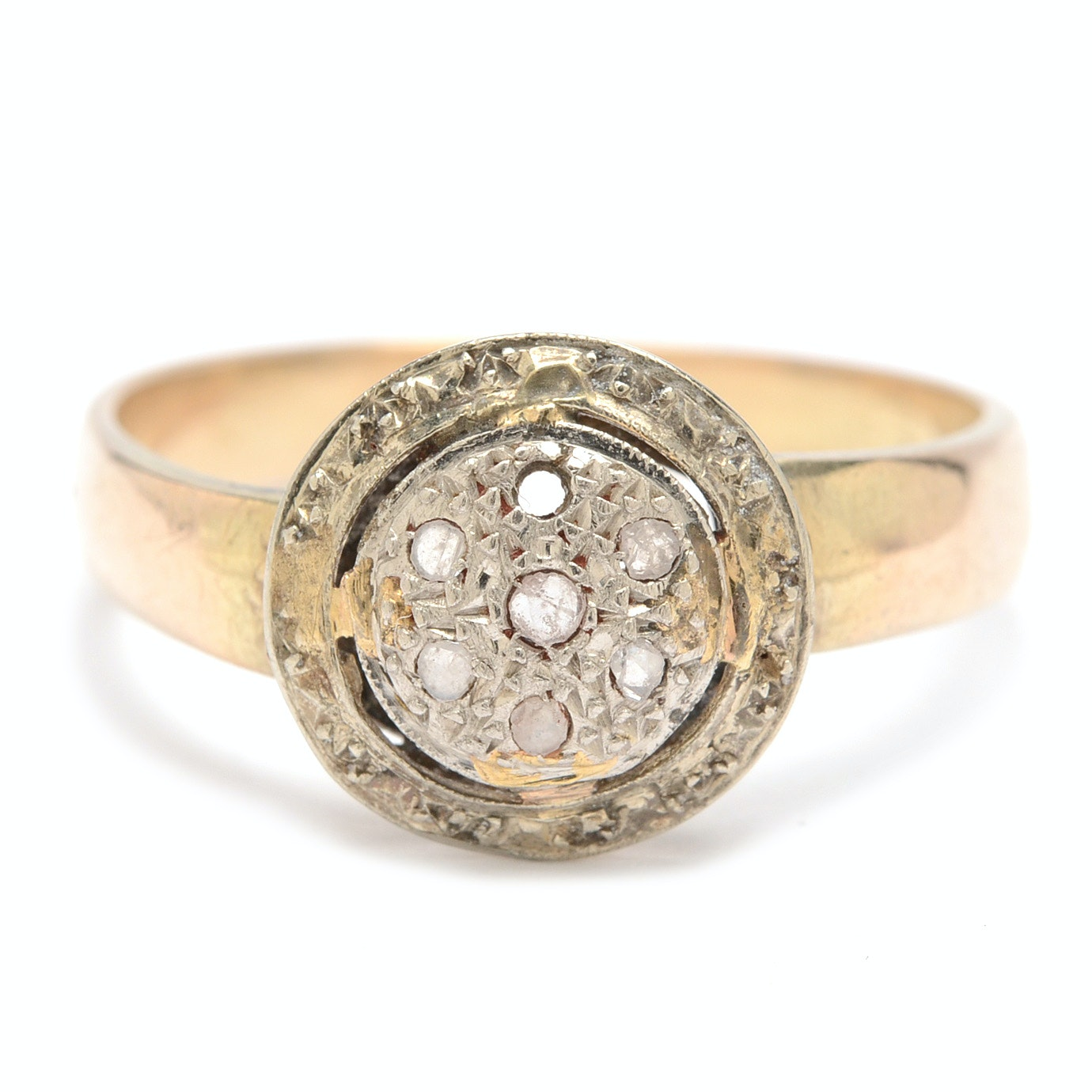 Antique 14K White Gold and 10K Yellow Gold Diamond Ring