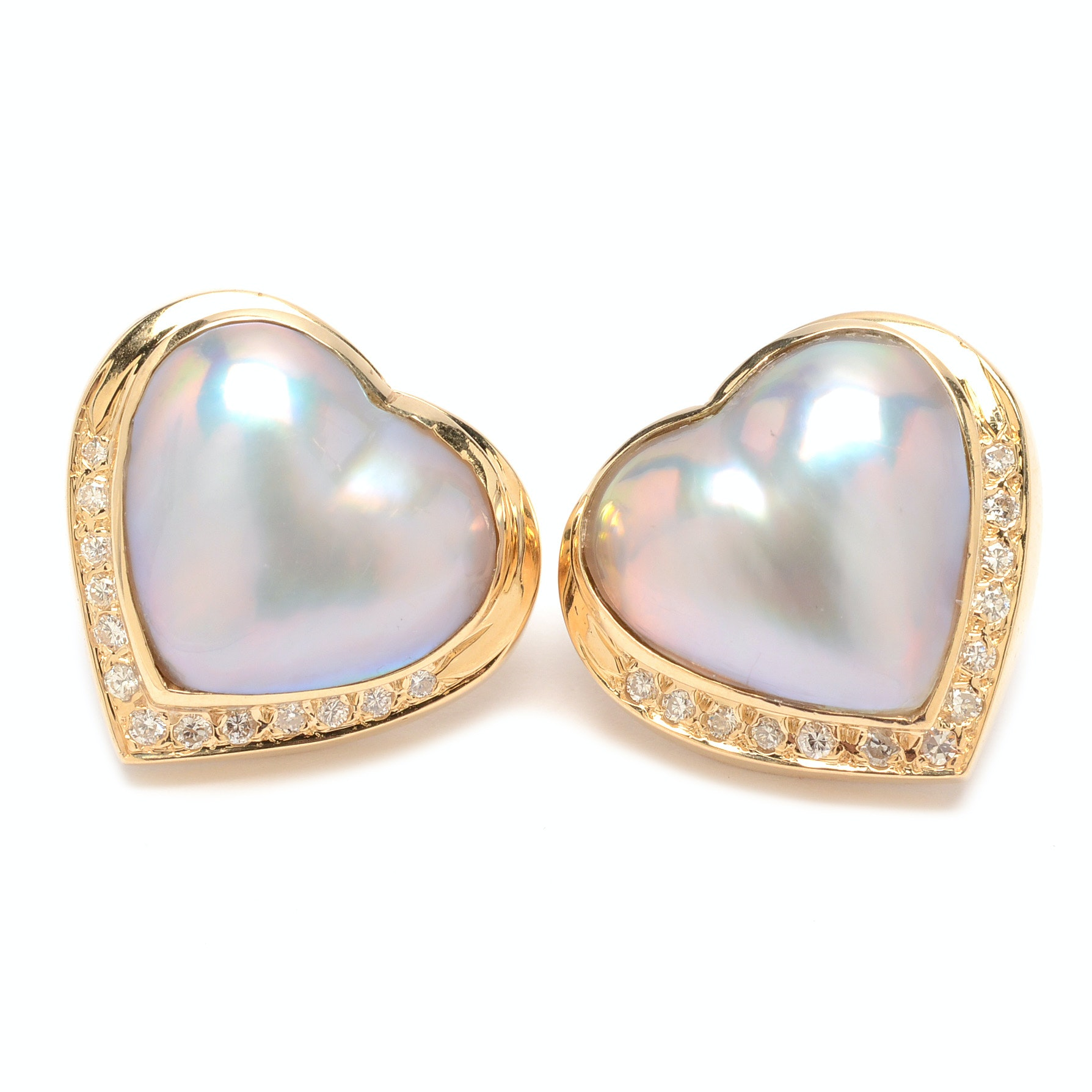 14K Yellow Gold Cultured Mabe Pearl and Diamond Heart Earrings