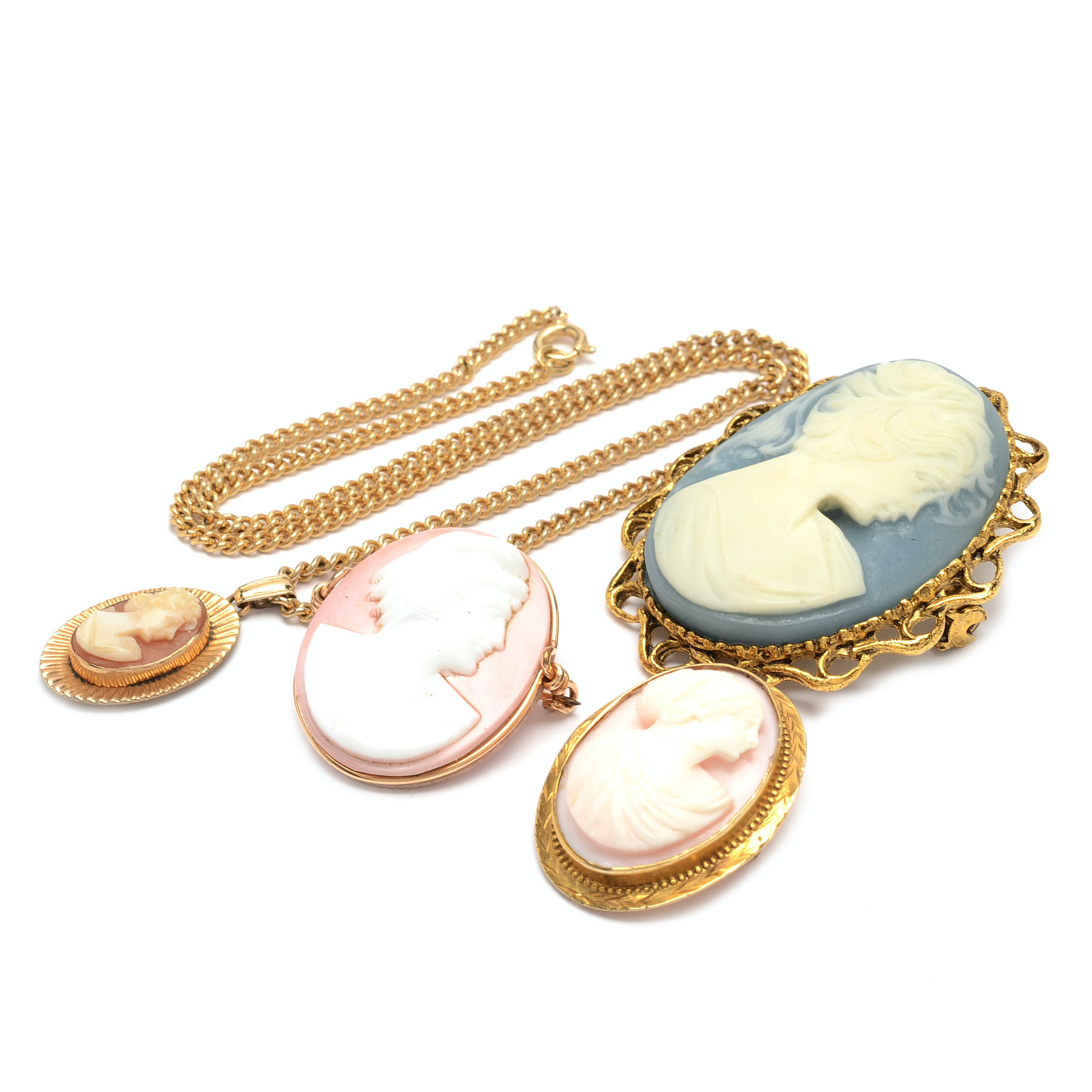 Cameo Brooches with a Van Dell Cameo Necklace