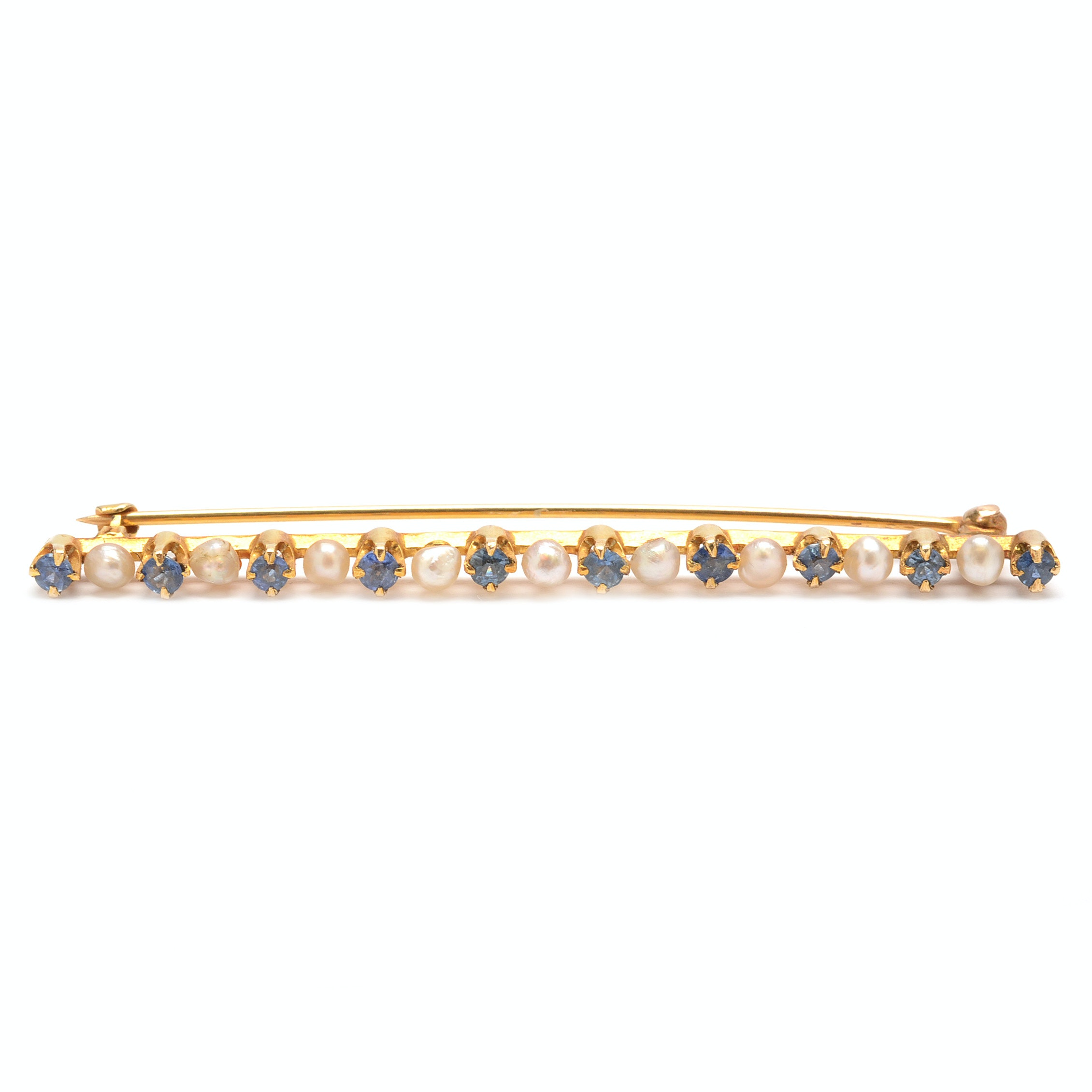 Antique 14K Yellow Gold Sapphire and Seed Pearl Brooch