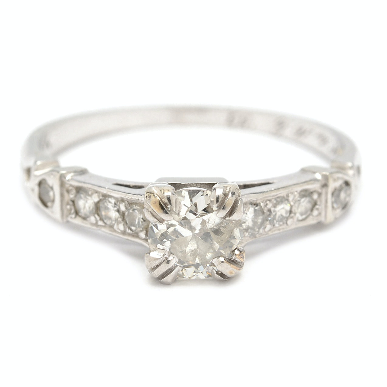 18K White Gold Art Deco Transitional Cut Diamond Ring