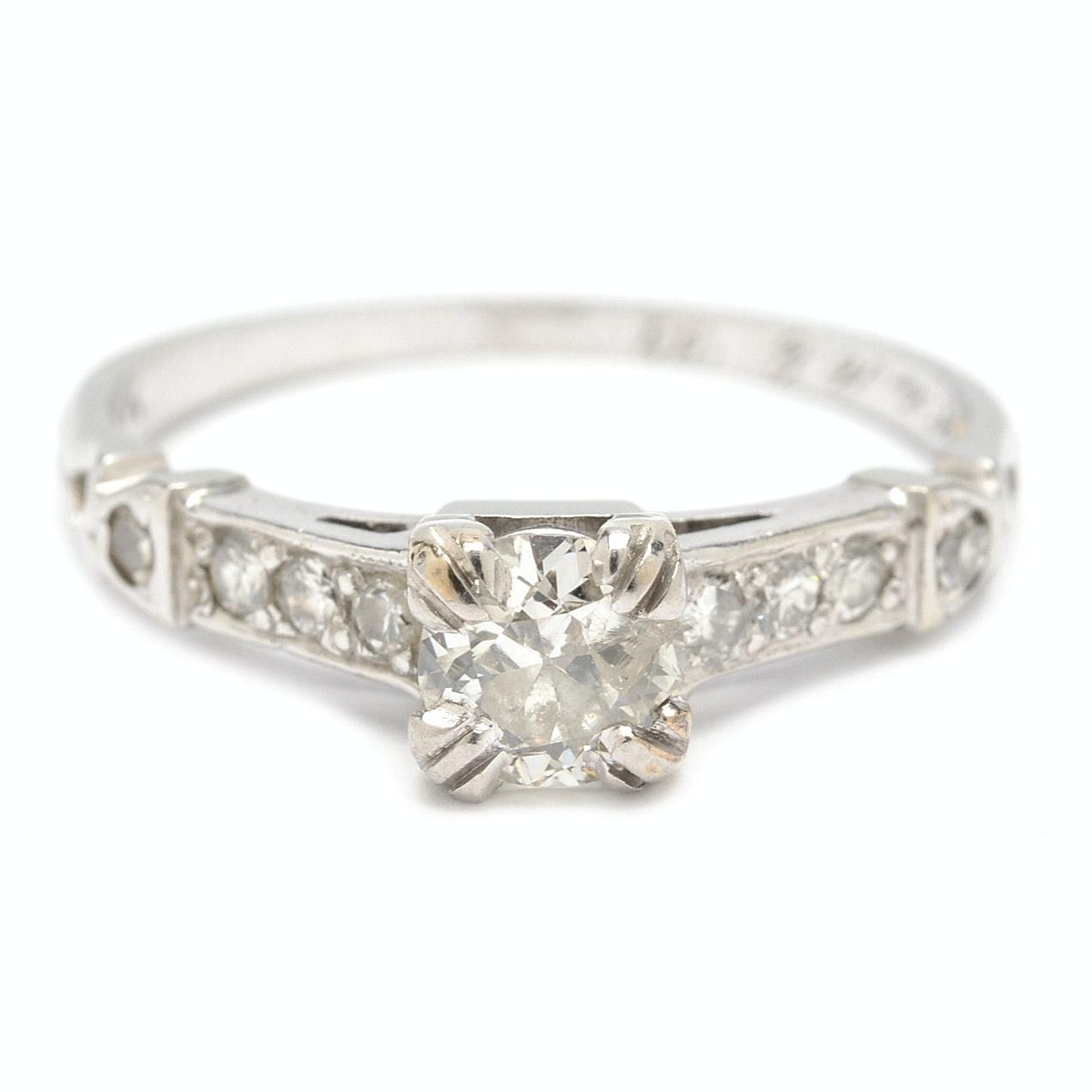 18K White Gold Art Deco Transitional Cut Diamond Ring