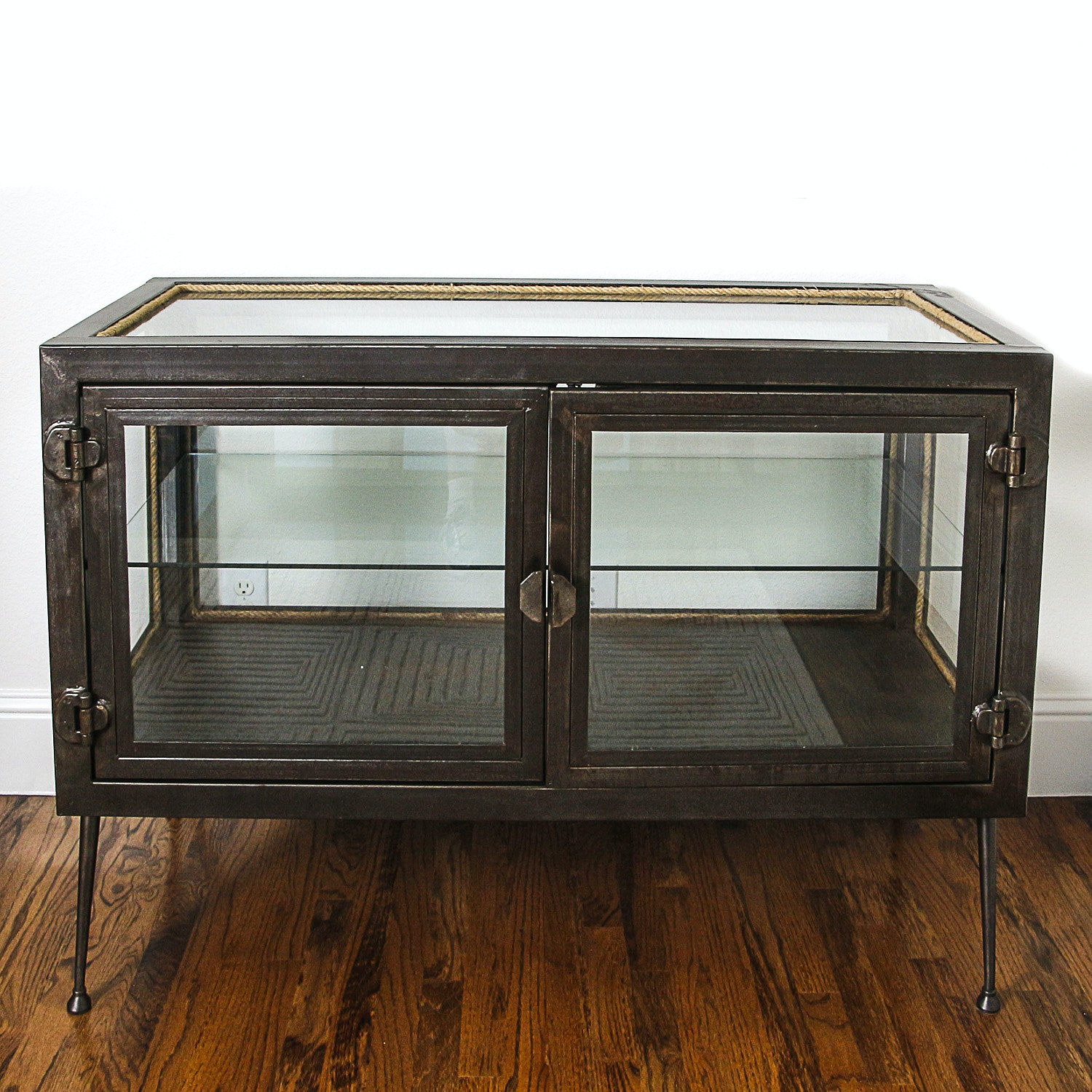 Contemporary Glass and Metal Display Cabinet