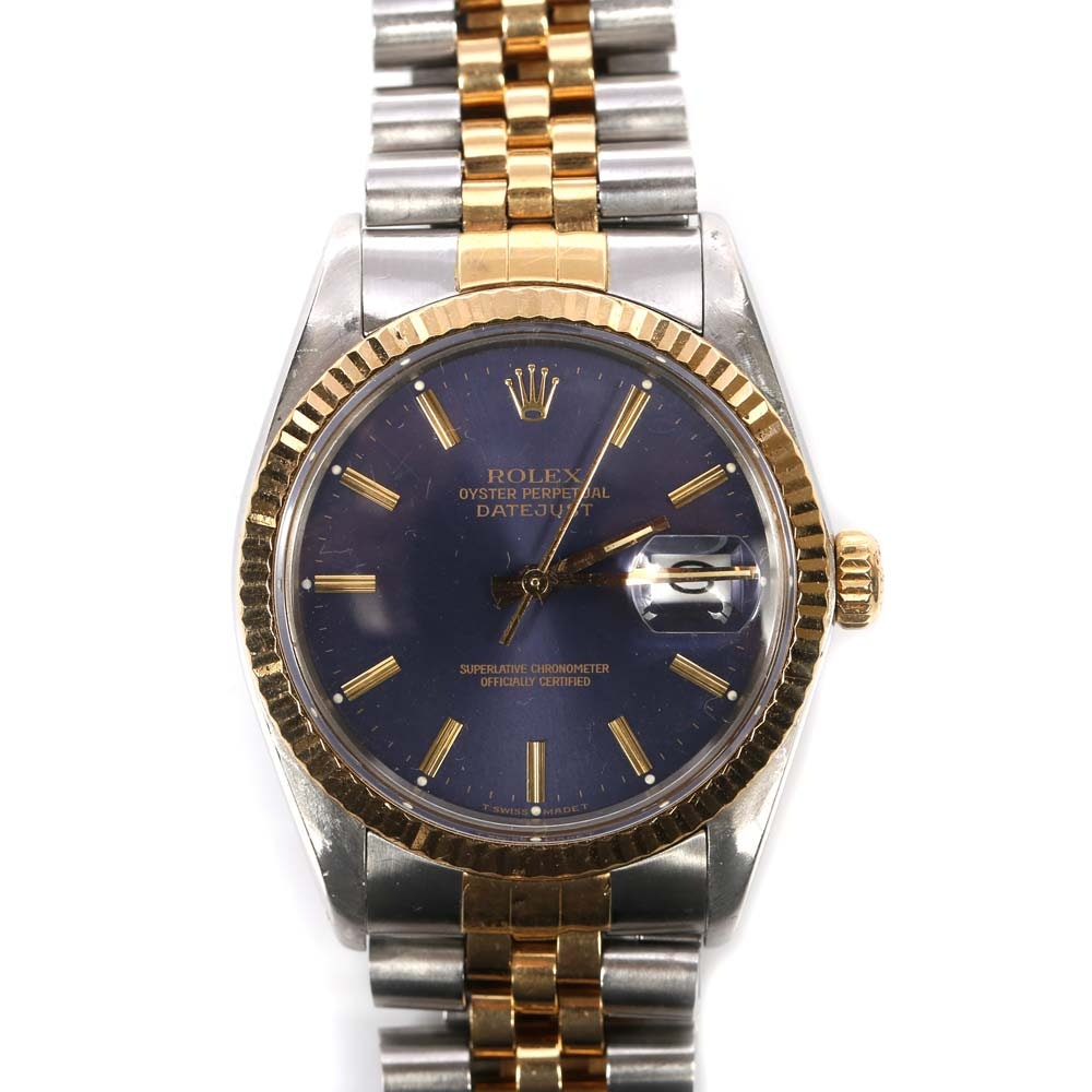 Rolex Oyster Perpetual Datejust Stainless Steel and 18K Yellow Gold Wristwatch