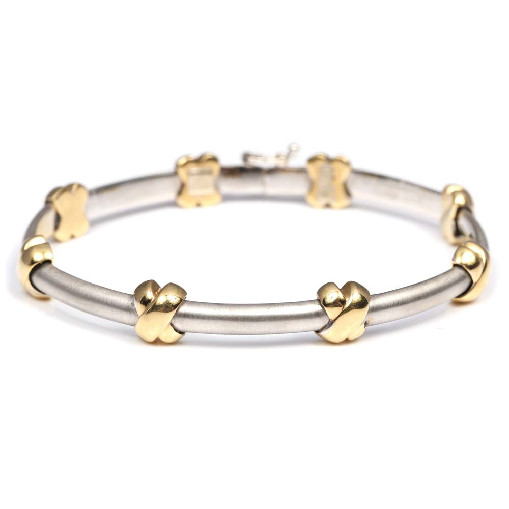 18K White and Yellow Gold Link Bracelet