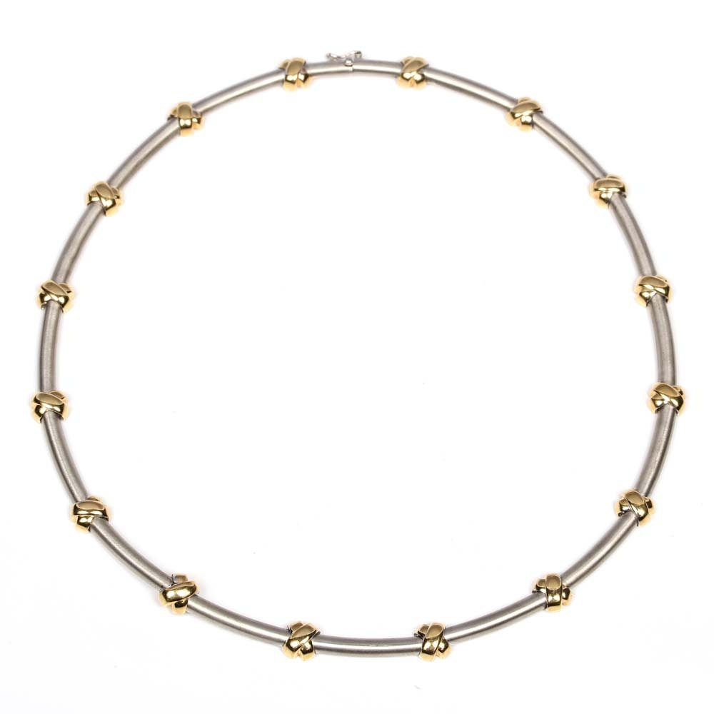 18K White and Yellow Gold Link Necklace