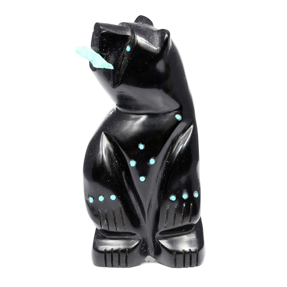 Standing Carved Marble and Turquoise Fetish Bear