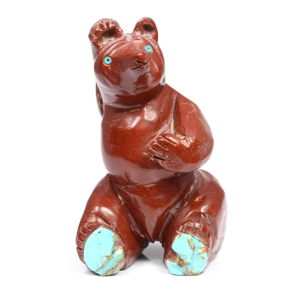 Pipestone and Turquoise Carved Sitting Bear Fetish Carving