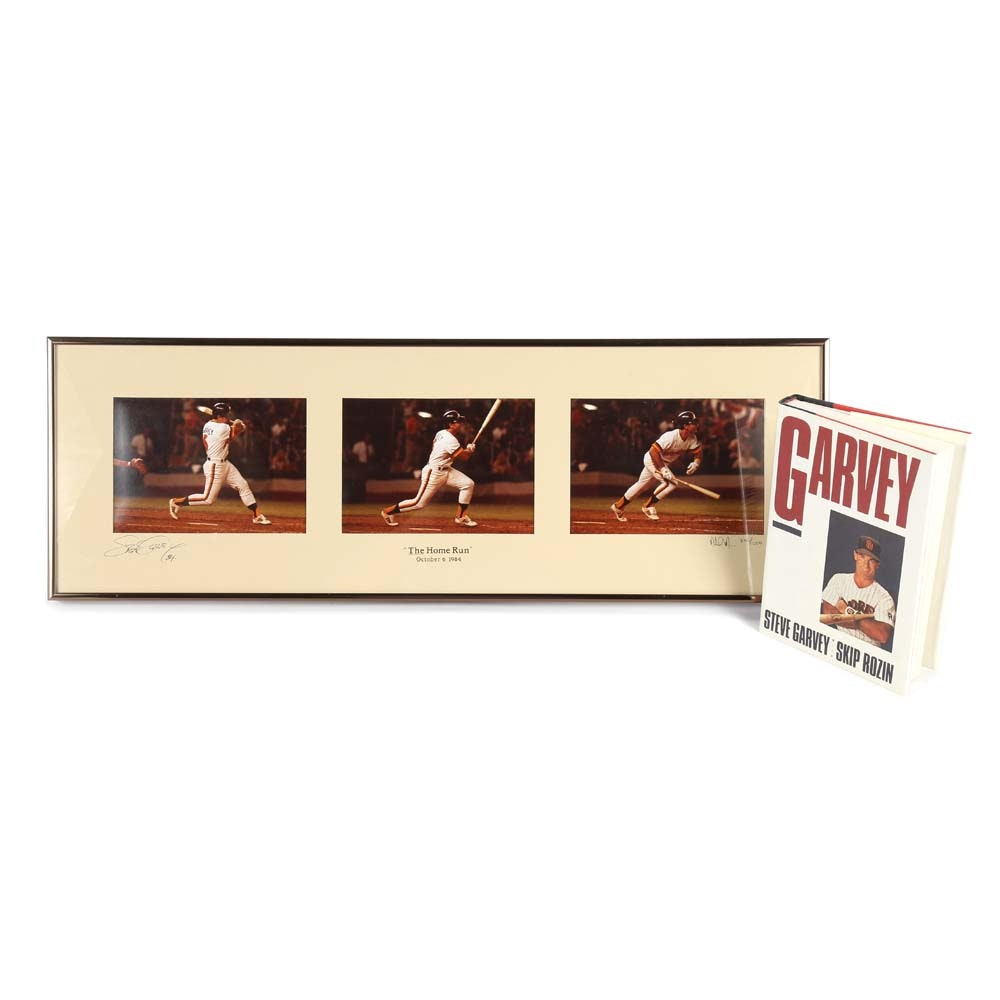 "Signed Steve Garvey Book and 1984 ""The Home Run"" Photo Triptych"