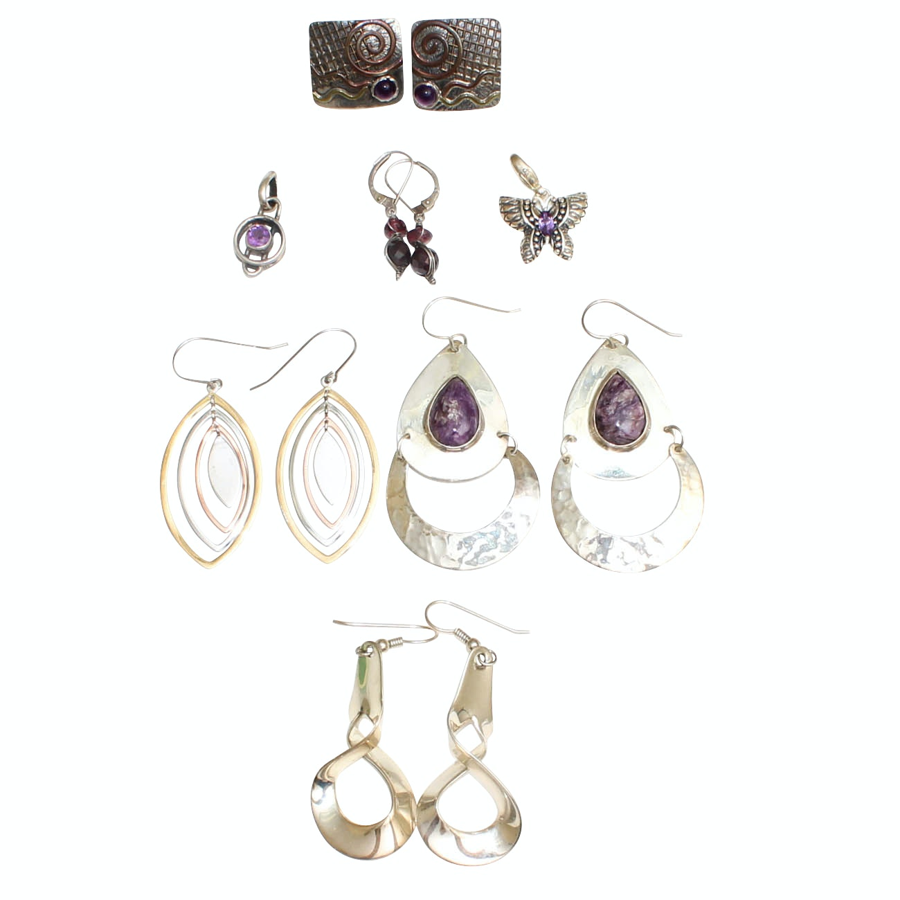 900 and Sterling Silver Jewelry with Amethyst, Garnet, and Charoite