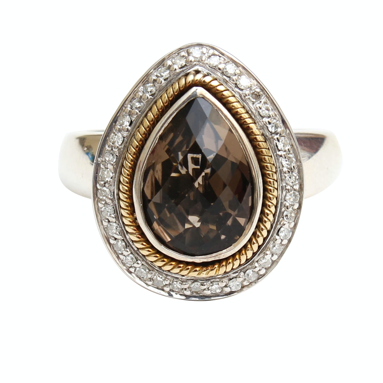 Effy Sterling Silver and 18K Yellow Gold Citrine and Diamond Ring