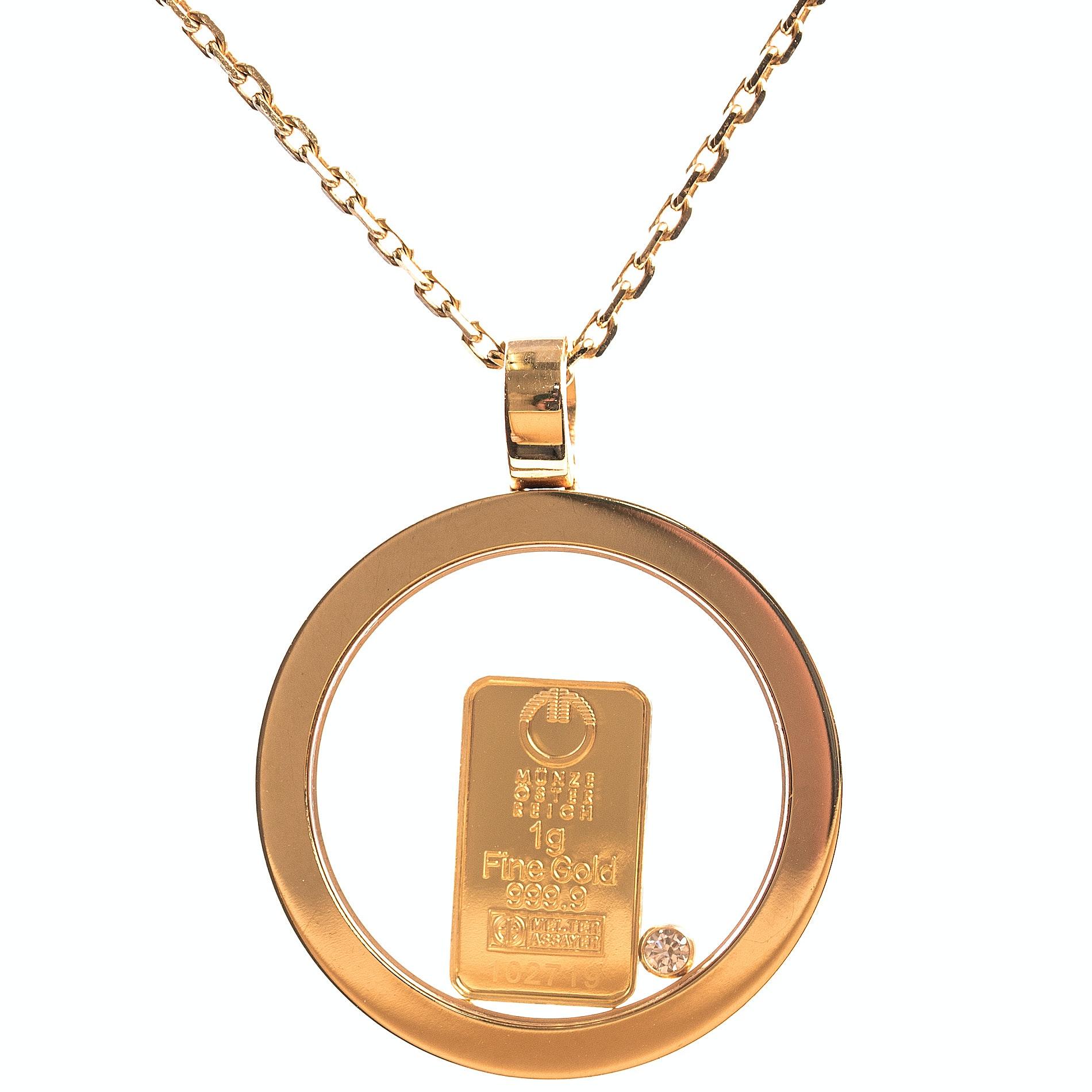 "Chopard 18K Yellow Gold ""Happy Diamond"" Pendant with Austrian Mint Fine Gold Bar"