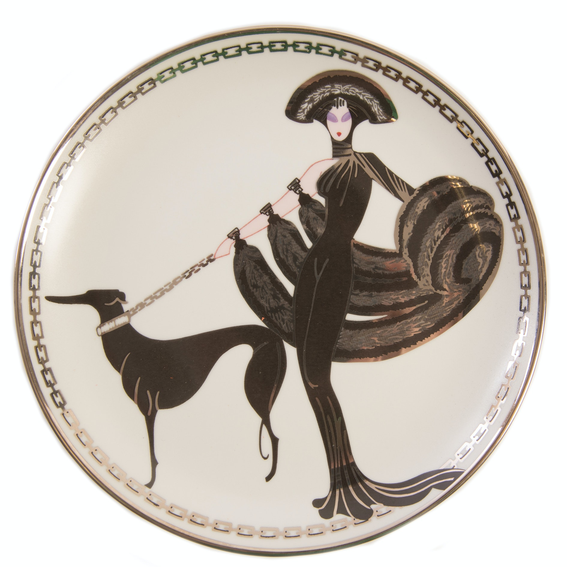 "House of Erté ""Symphony in Black"" Plate from the Franklin Mint"