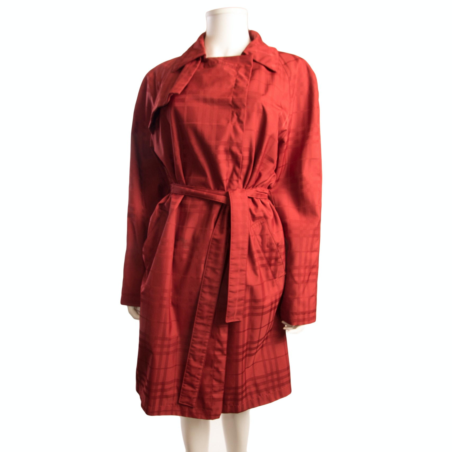 Burberry London Red Plaid Trench Coat